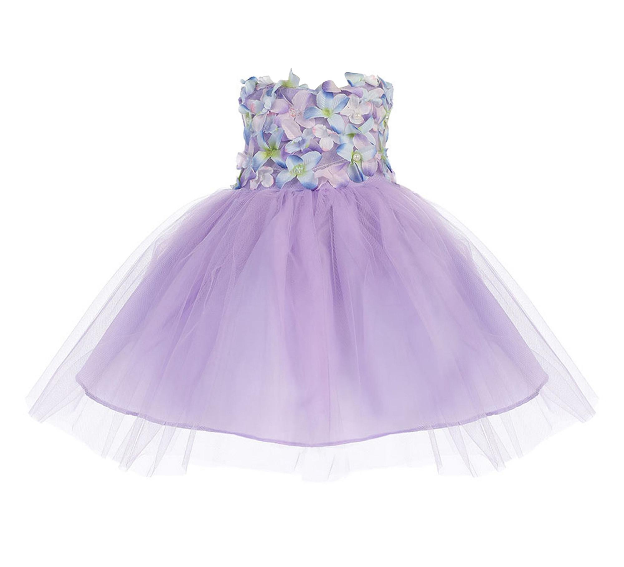 BIMARO Baby Mädchen Babykleid Rosalie flieder lila Tüll Blüten Perlen Pailletten Kleid Taufkleid Taufe Hochzeit festlich