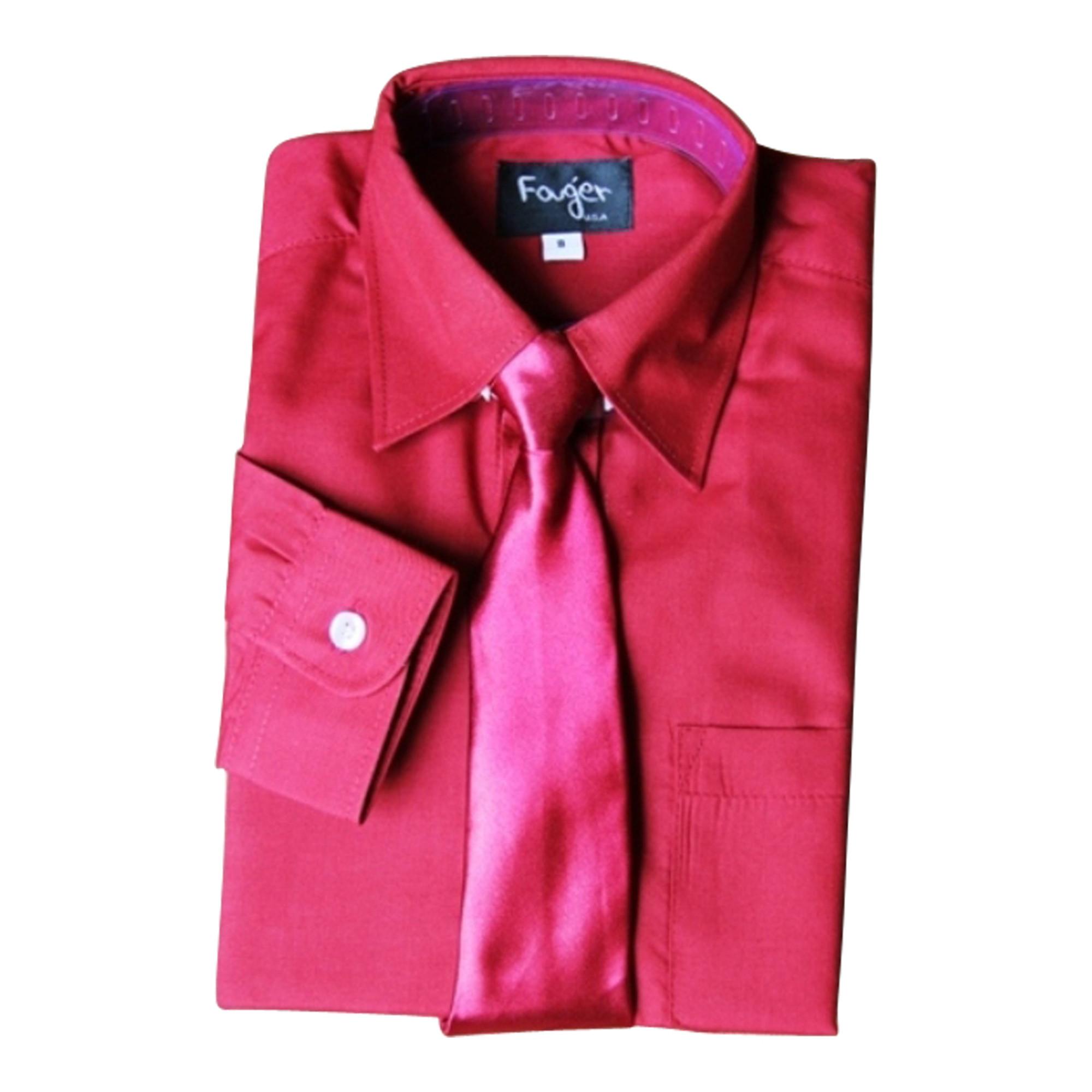 BIMARO Jungen Kinderhemd mit Krawatte dunkelrot rot Hemd Langarm Baumwollmischung  Weihnachten Hochzeit Kommunion Taufe