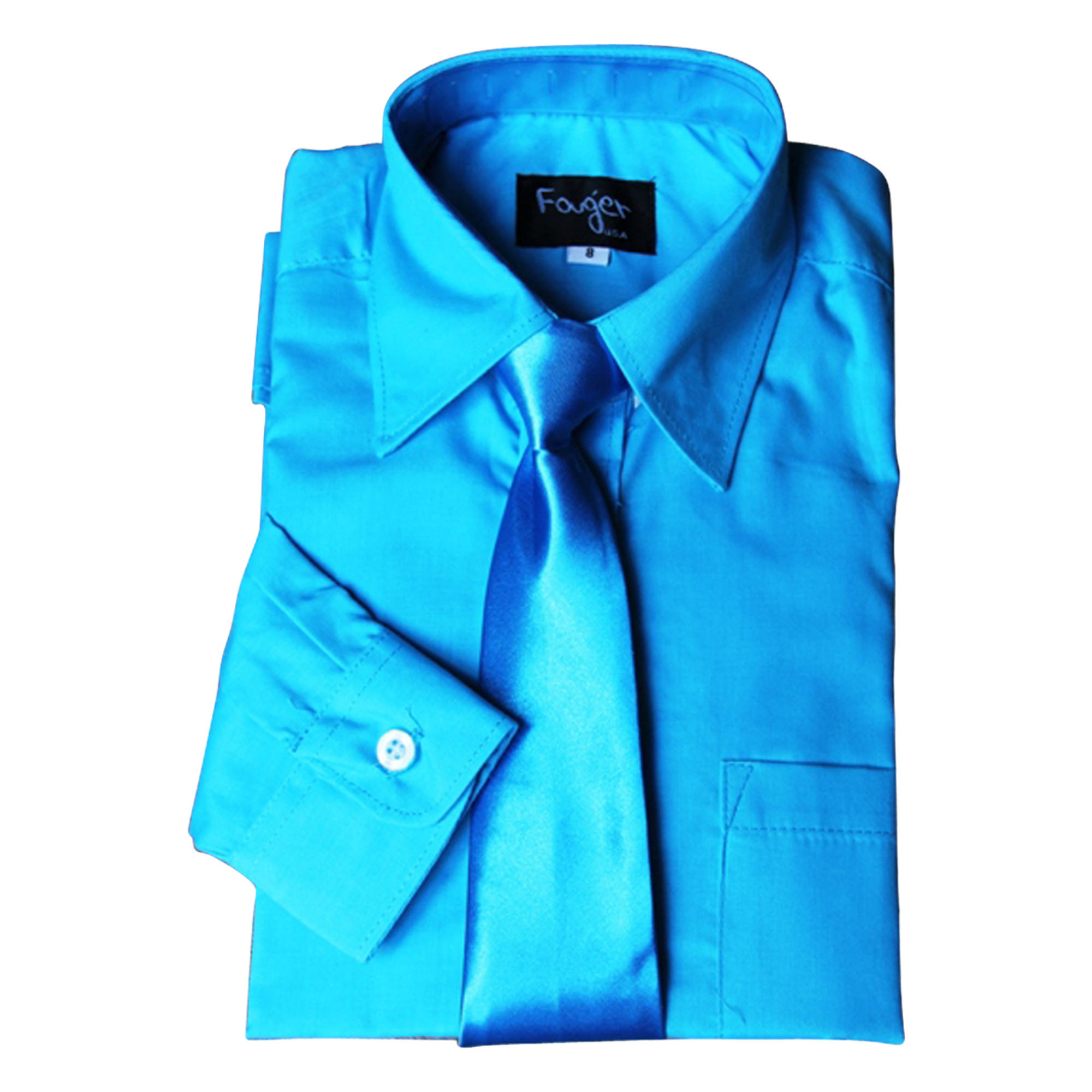 BIMARO Jungen Kinderhemd mit seidener  Krawatte türkis blau klassisch Hemd langarm festlich Weihnachten Hochzeit Kommunion Taufe
