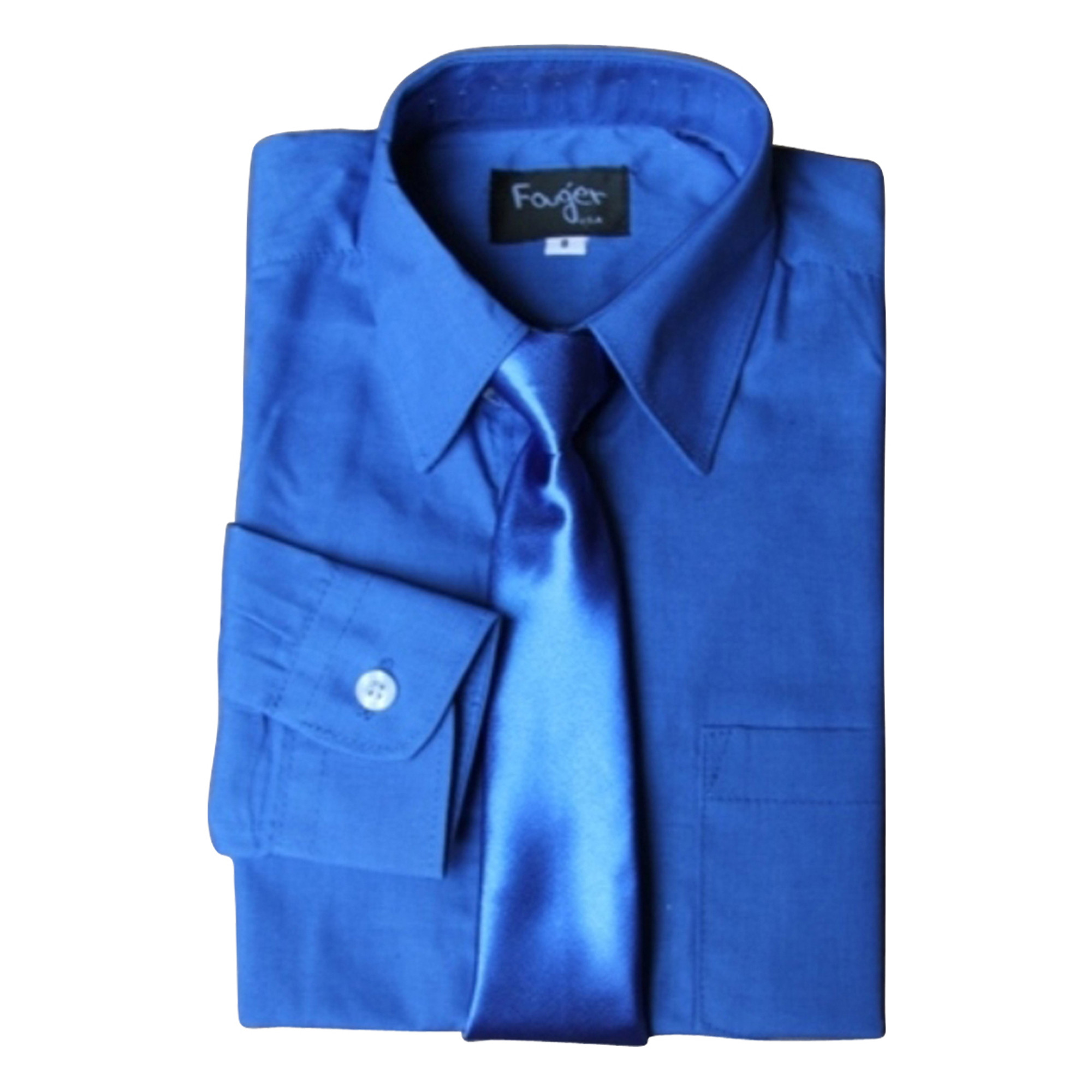 BIMARO Jungen Kinderhemd mit seidener Krawatte royal blau Hemd festlich langarm Baumwollmischung Hochzeit Taufe Kommunion