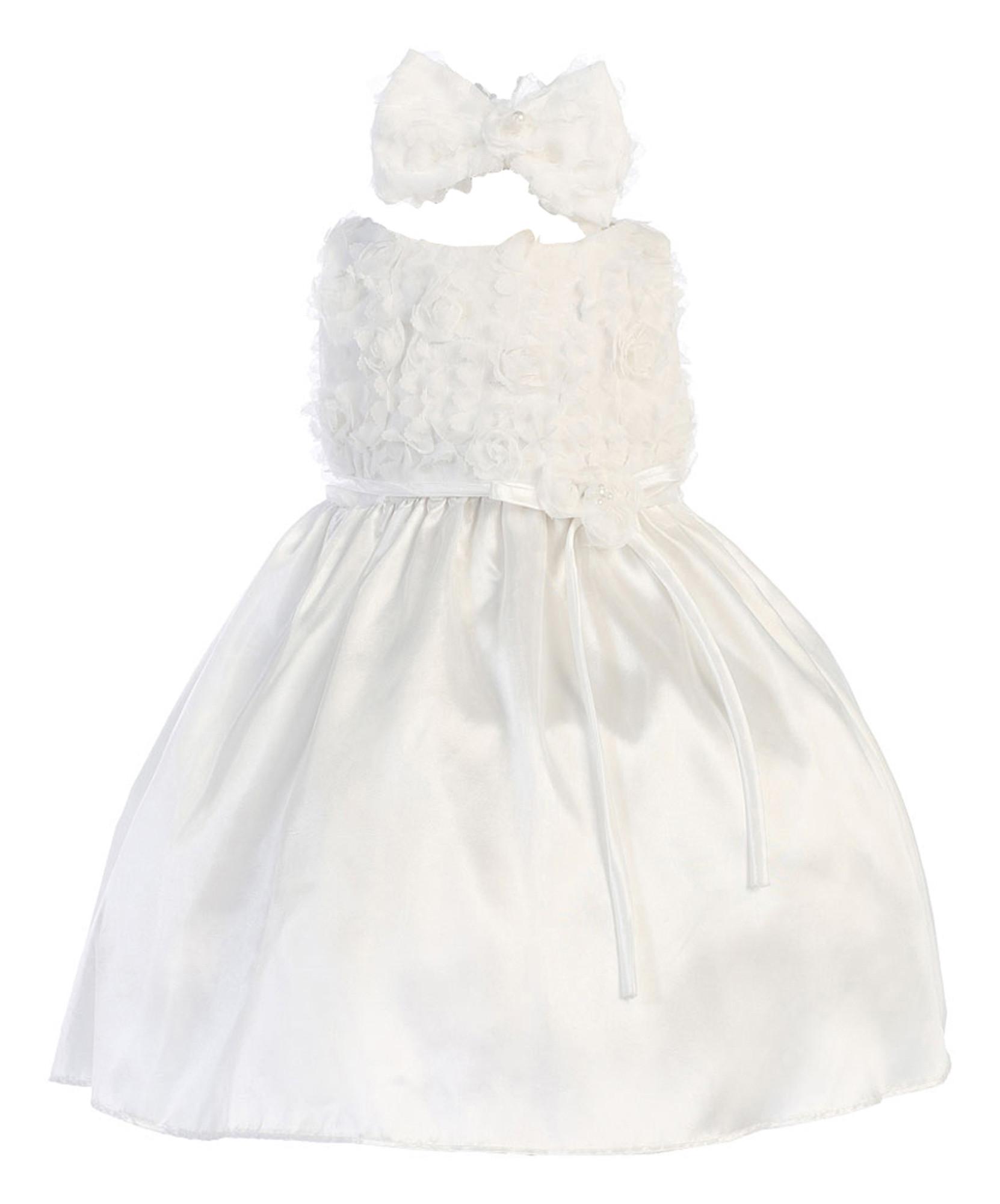 BIMARO Baby Mädchen Taufkleid Louise weiß Babykleid Kleid Satin Blüten Haarband Taufe Hochzeit festlich Festkleid 001