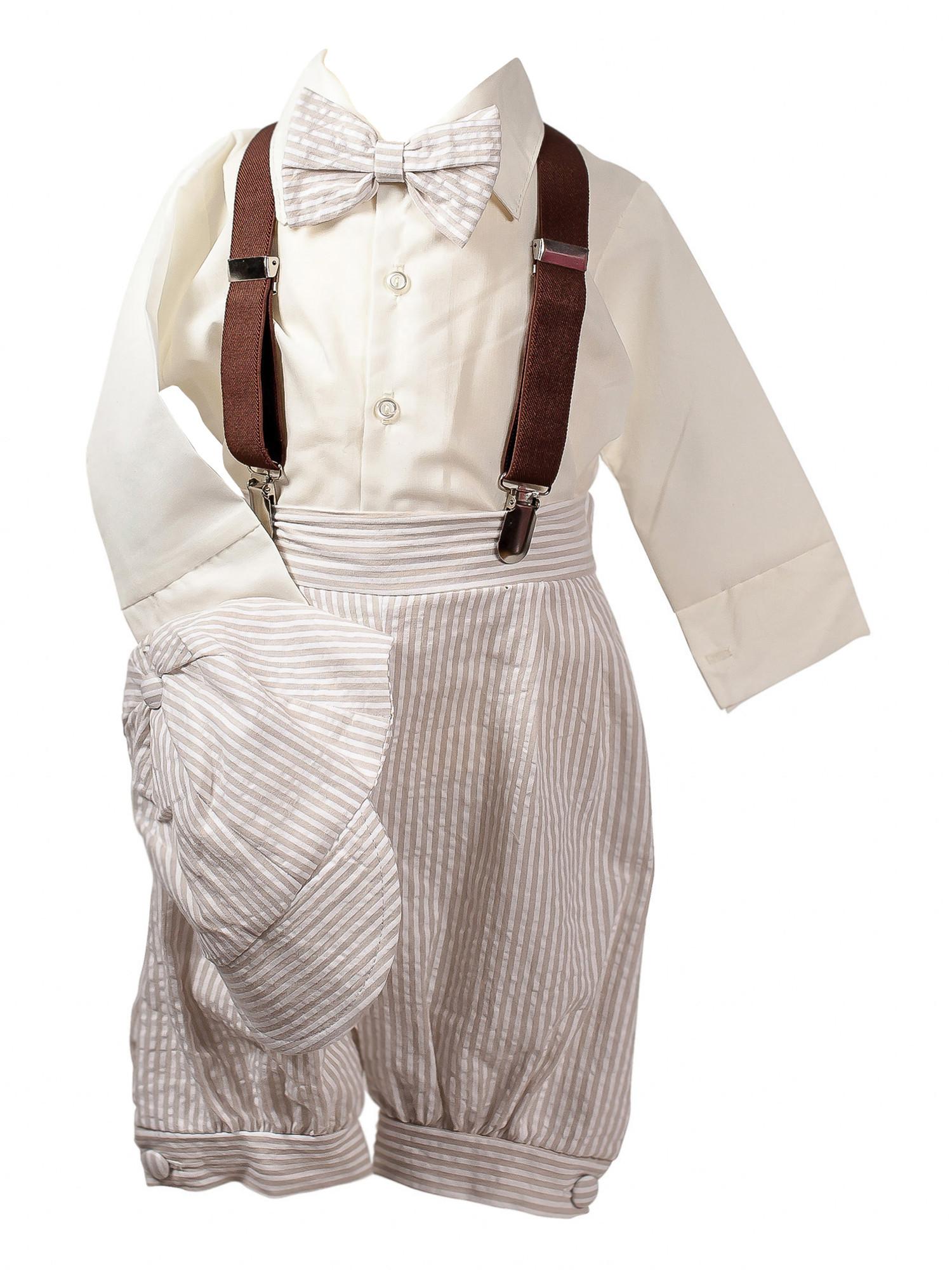 BIMARO Baby Jungen Babyanzug Carl Taufanzug Set 5teilig Anzug beige creme gestreift Hemd Fliege Cap Taufe Hochzeit