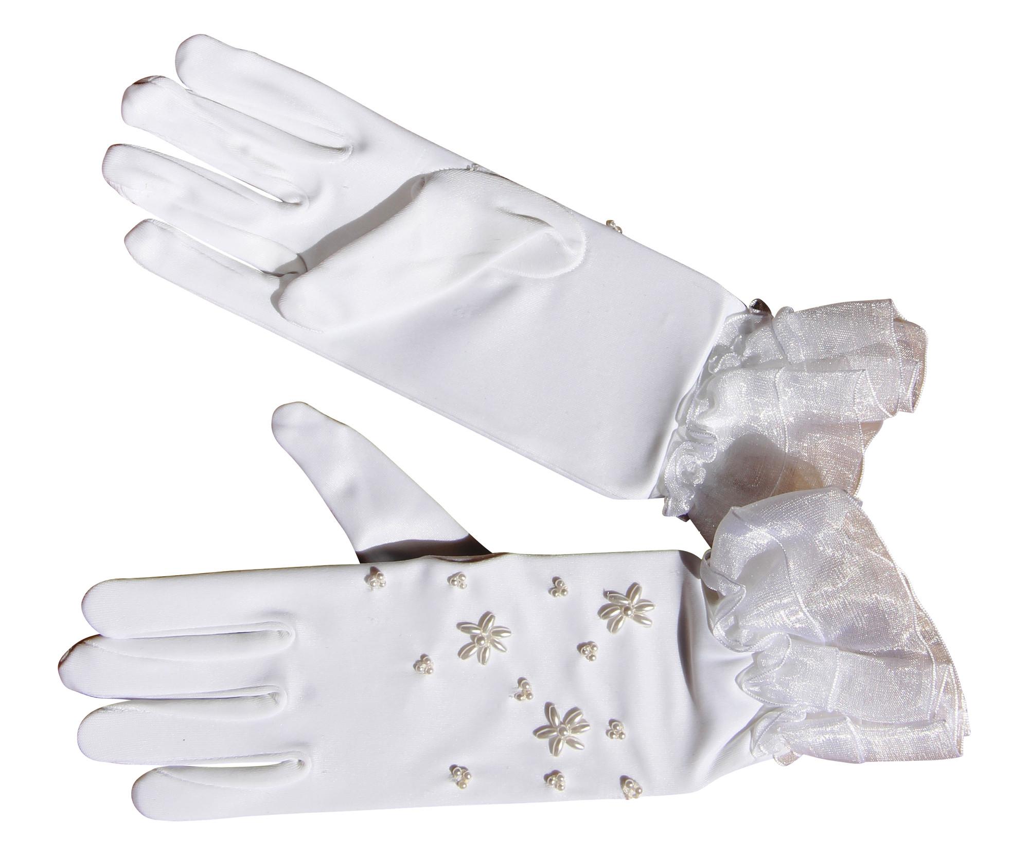 Edle Satinhandschuhe weiß kurz Perlen glänzend elastisch Handschuh Satin Mädchen Hochzeit Taufe Kommunion Blumenkind