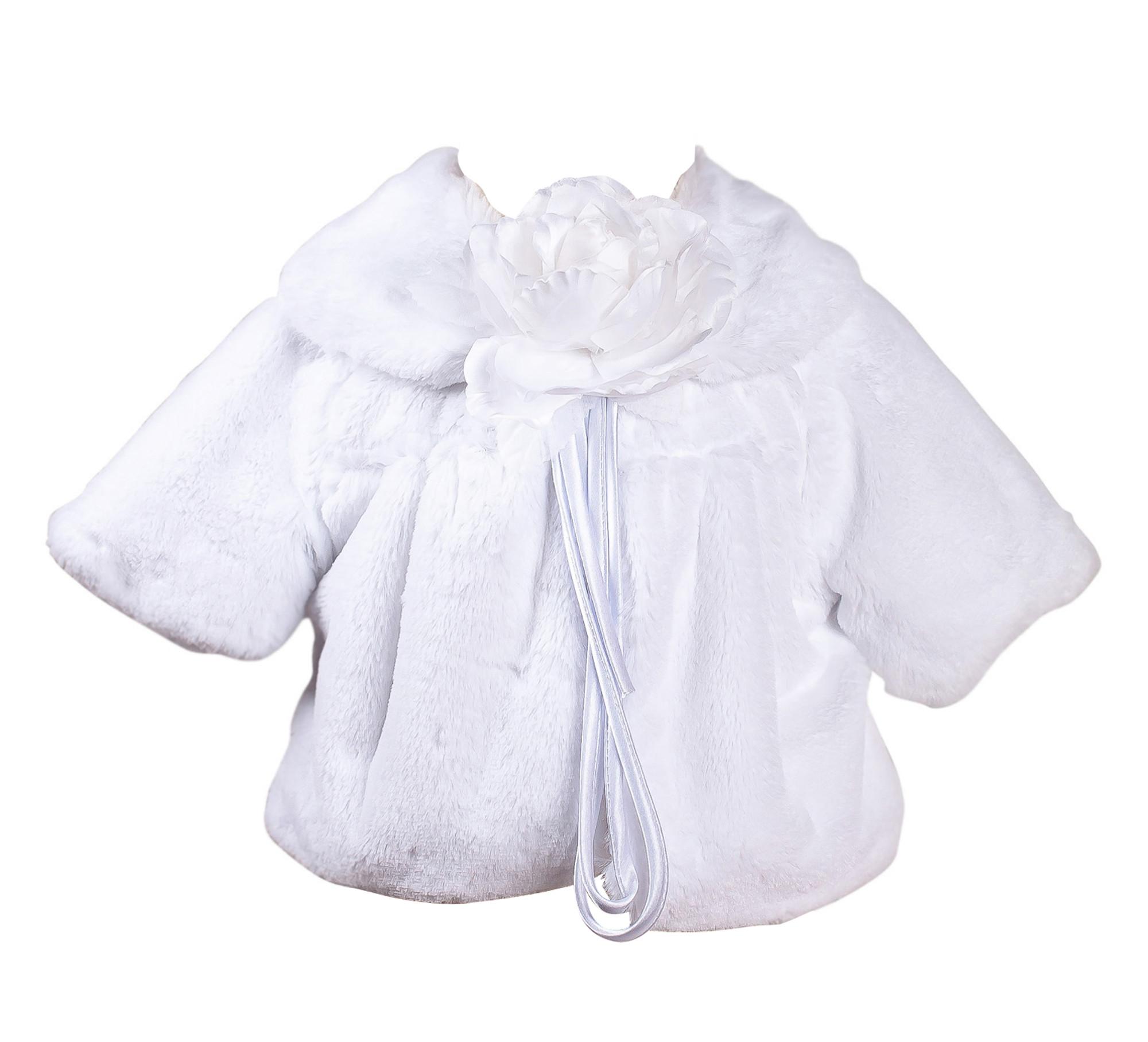 Hübsche Plüschjacke Baby Bolero weiß weich 3/4 Armlänge Mädchen Webpelz Jacke Taufe Hochzeit Kunstpelz Fell Taufjacke 001