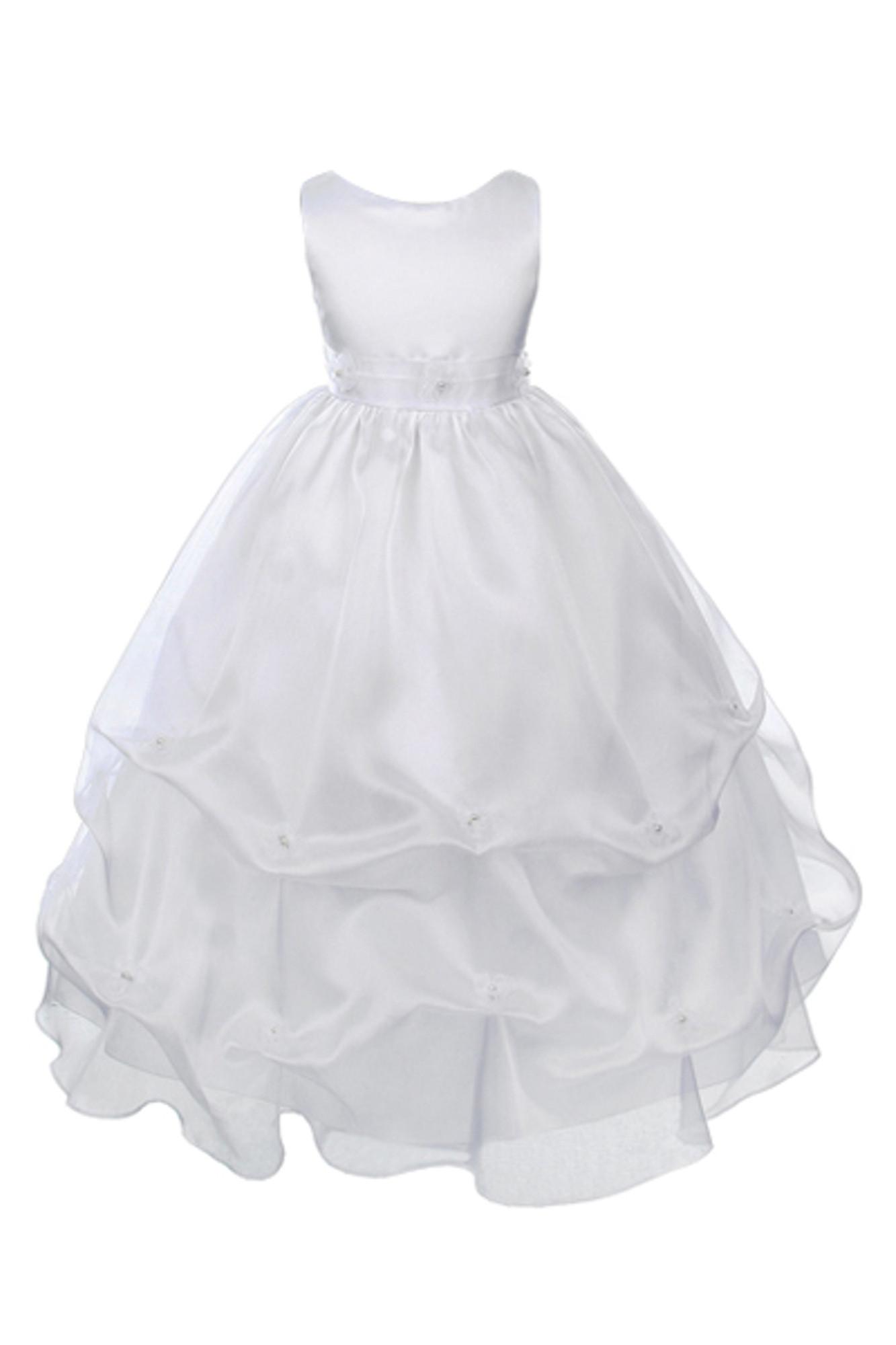 BIMARO Kommunionkleid Christin Festkleid weiß lang Satin Organza Blüten Perlen Kommunion festlich 001