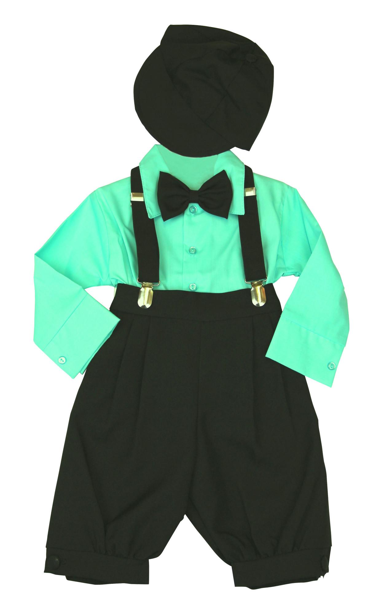 Bimaro Baby Jungen Babyanzug Louis Taufanzug Schwarz Hemd Mint Grun