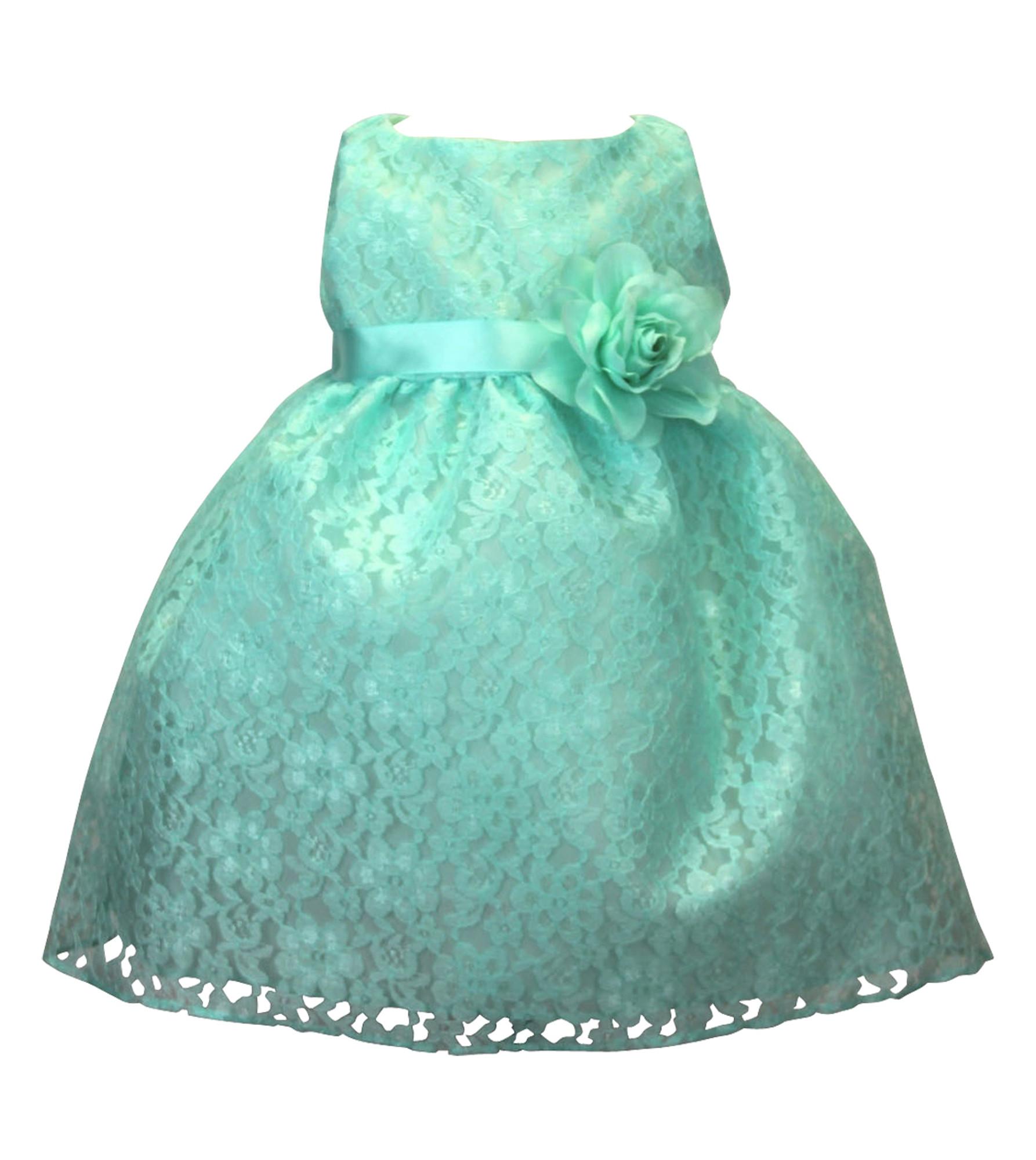 BIMARO  Babykleid Nelly mint grün Kleid Taufkleid Spitzenkleid Blumen Taufe Hochzeit festlich Festkleid Spitze