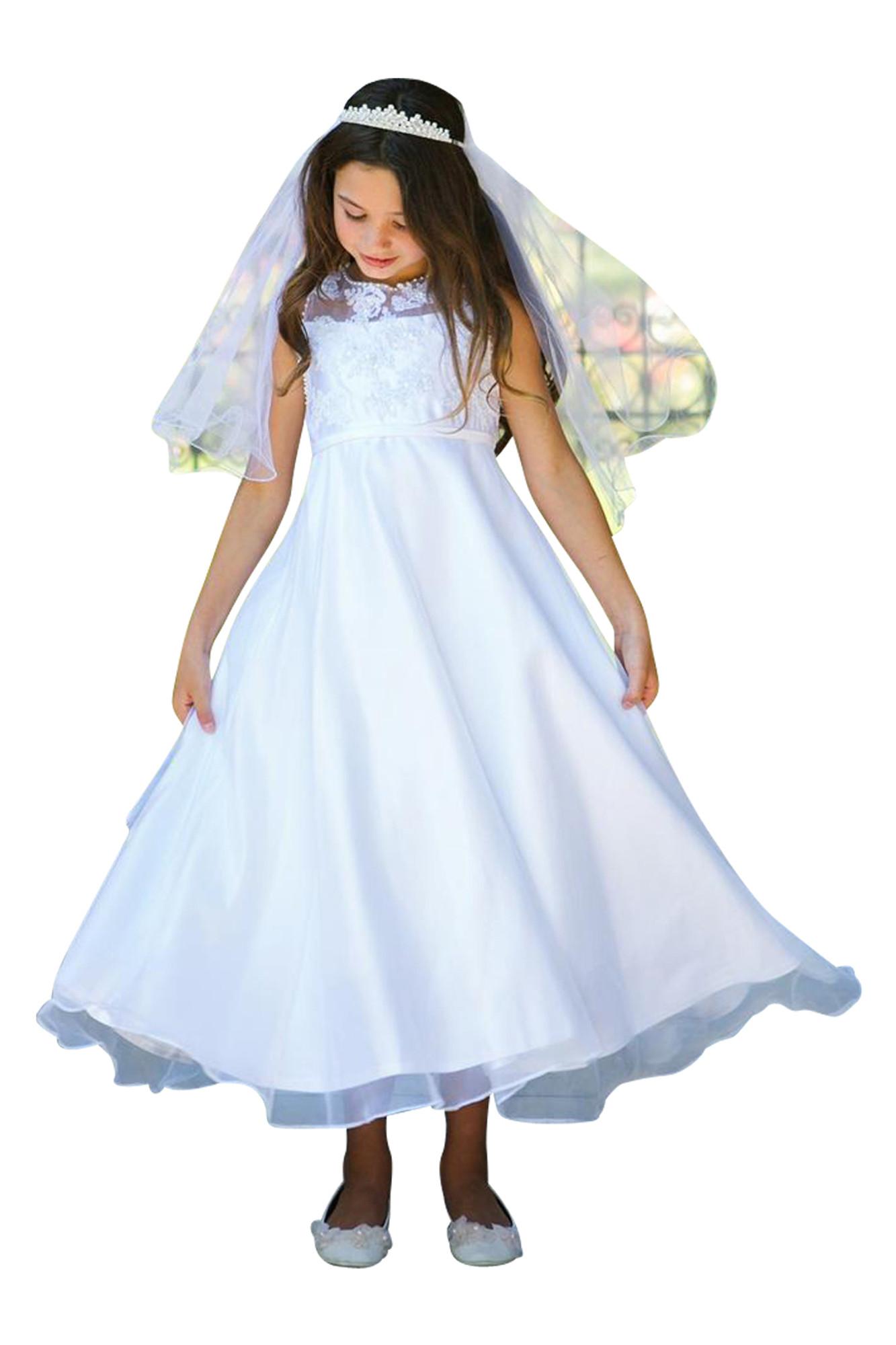 BIMARO Mädchen Kleid Alisea Kommunionkleid Festkleid weiß lang schlicht Satin Perlen Pailletten Organza Kommunion Hochzeit  001