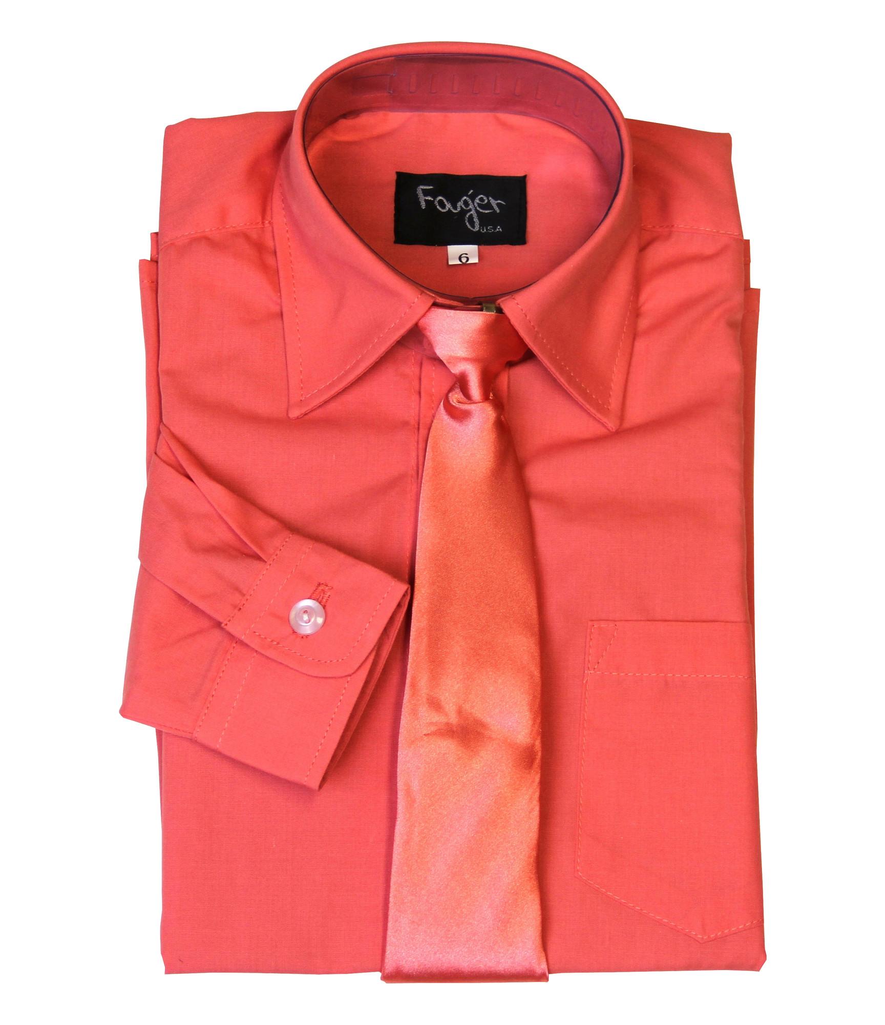 BIMARO Jungen Kinderhemd mit seidener Krawatte coral koralle Hemd festlich langarm Baumwollmischung Hochzeit Taufe Kommunion 001