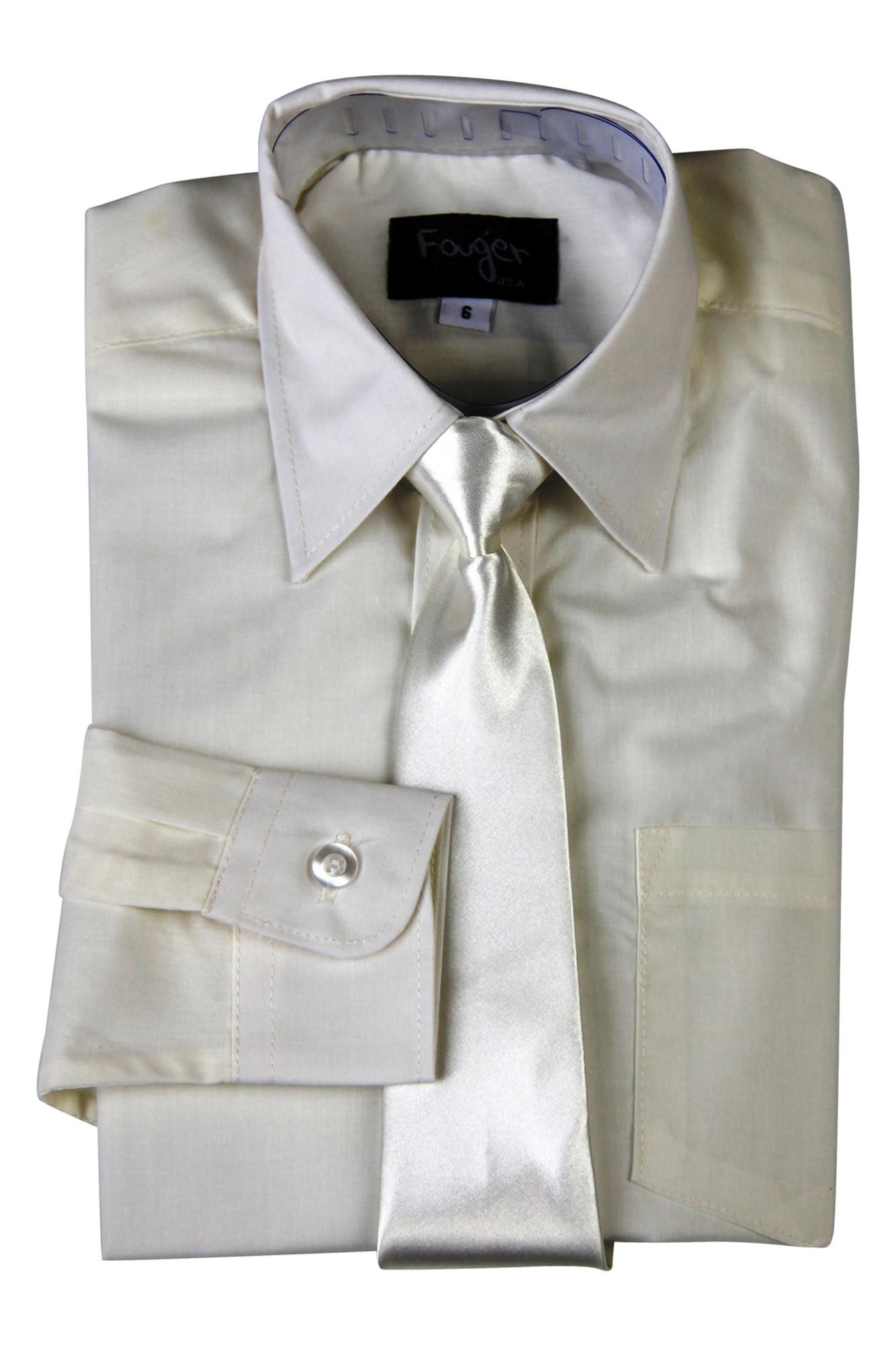 BIMARO Jungen Kinderhemd mit seidener Krawatte creme beige Hemd festlich langarm Baumwollmischung Hochzeit Taufe Kommunion 001