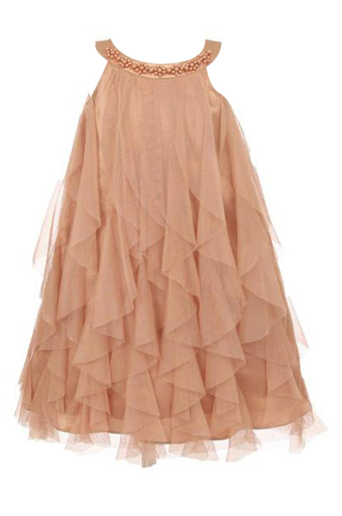 BIMARO Mädchen Kleid Lucia champagner beige Festkleid edler Mesh Volants Perlen festlich Hochzeit Blumenmädchen Weihnachten 001