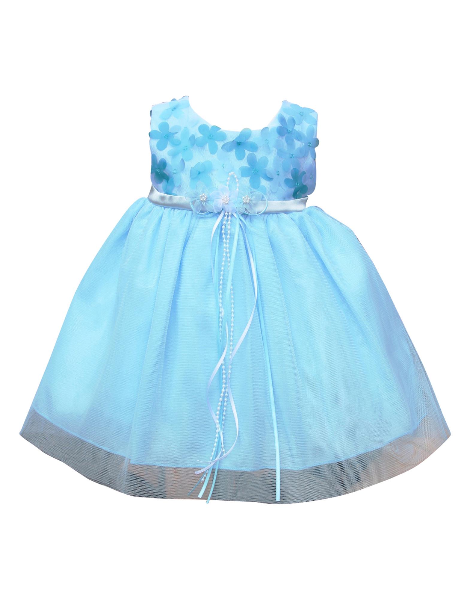 BIMARO Baby Mädchen Babykleid Cecile blau hellblau Blumen Tüll Taufkleid Taufe Hochzeit festliches Kleid