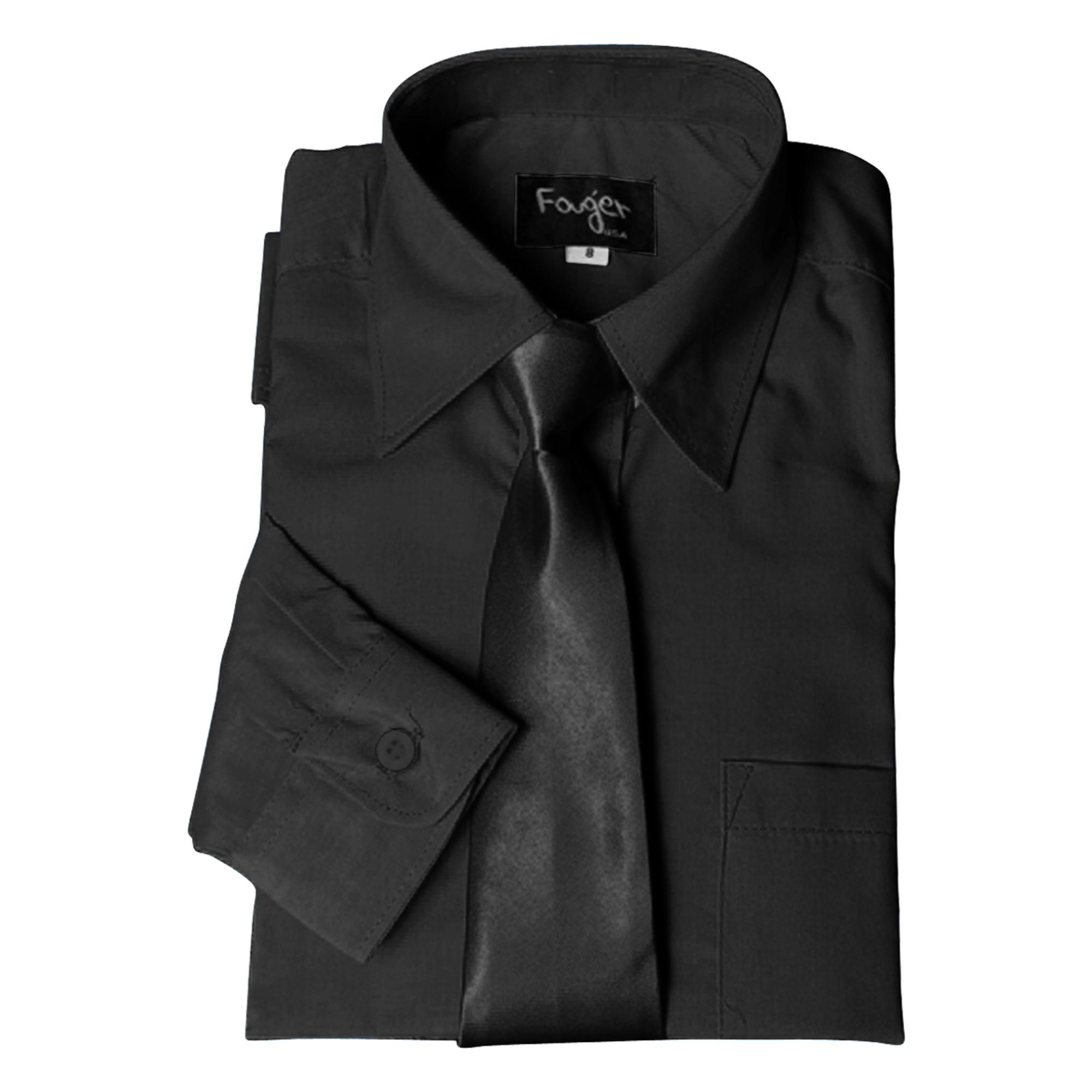 BIMARO Jungen Kinderhemd mit Krawatte schwarz klassisch Hemd langarm festlich Hochzeit Kommunion Weihnachten  001
