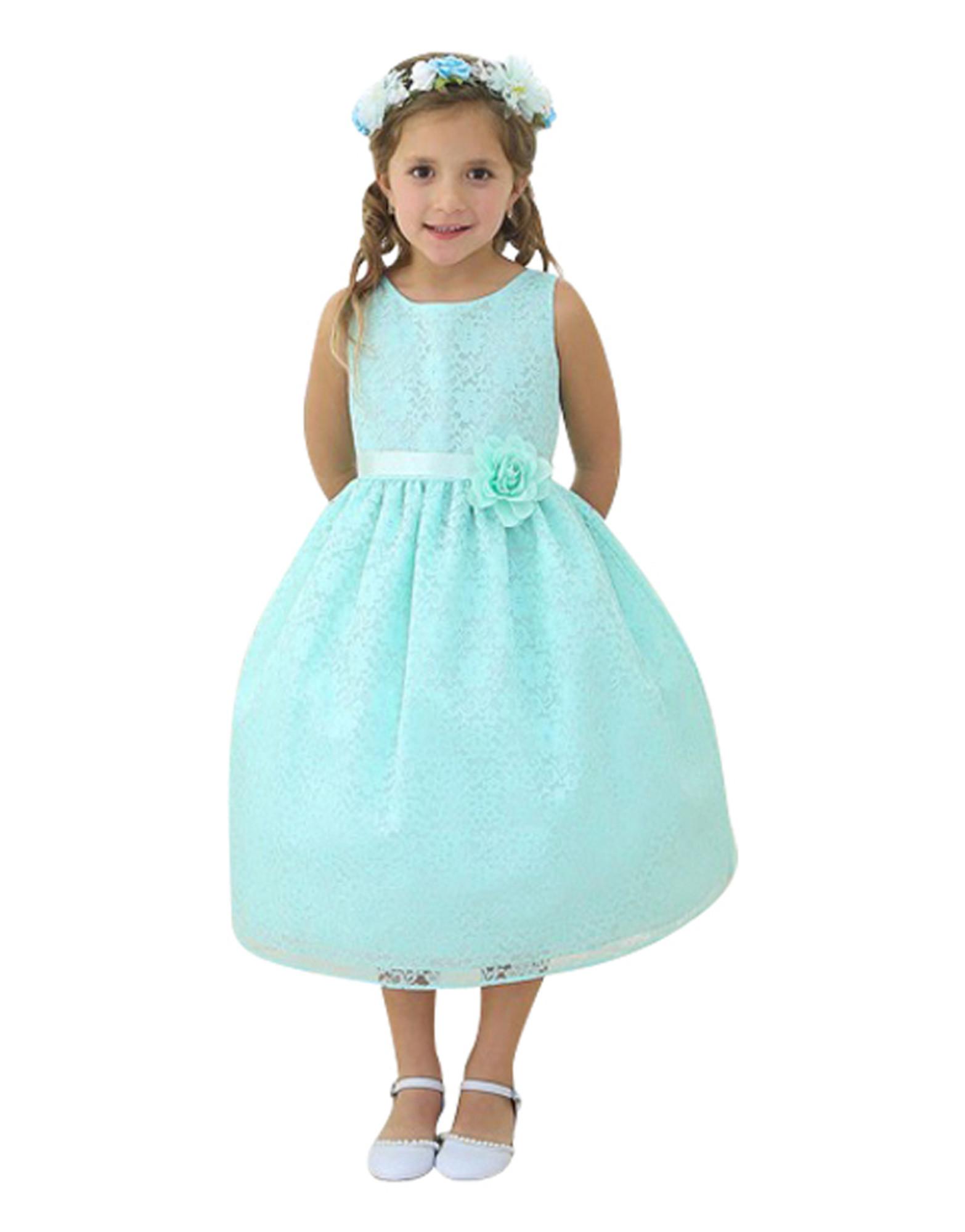 BIMARO Mädchen Kleid Spitzenkleid Nelly mint grün Festkleid Spitze Blumen Hochzeit Taufe festlich Blumenmädchen pastell 001