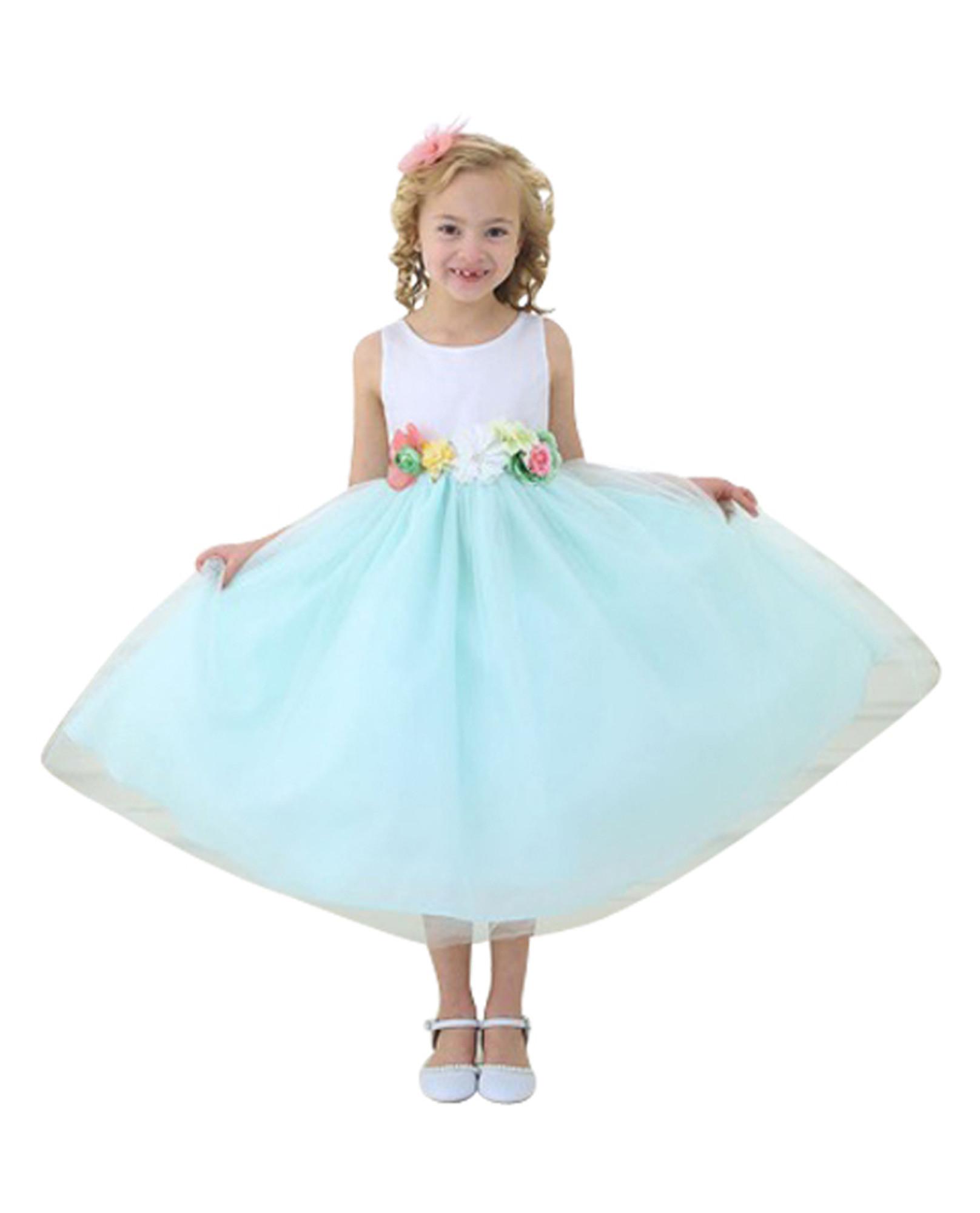BIMARO Mädchen Kleid Tamia mintgrün grün weiß Blüten Satin Tüll ...