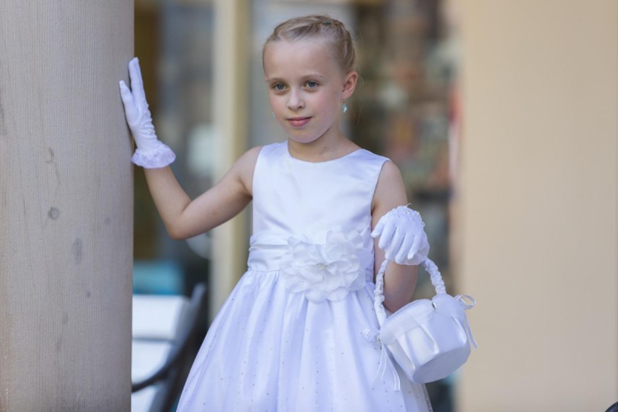 Bimaro Mädchen Kleid Laguna Weiß Mit Glitzer Tüll Satin Blüte