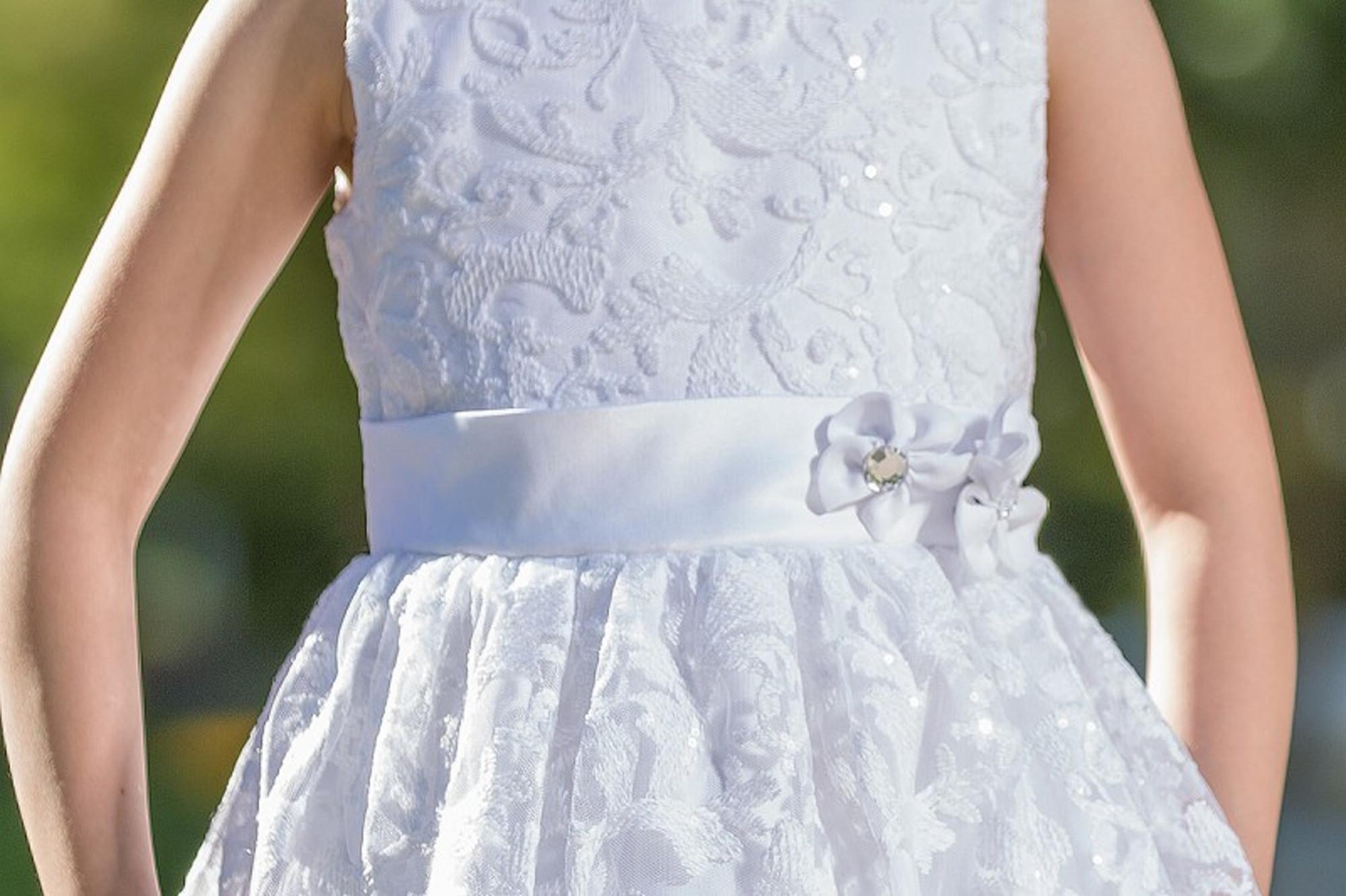 Bimaro Kleid Lavinia Weiß Festlich Spitzenkleid Festkleid Knielang