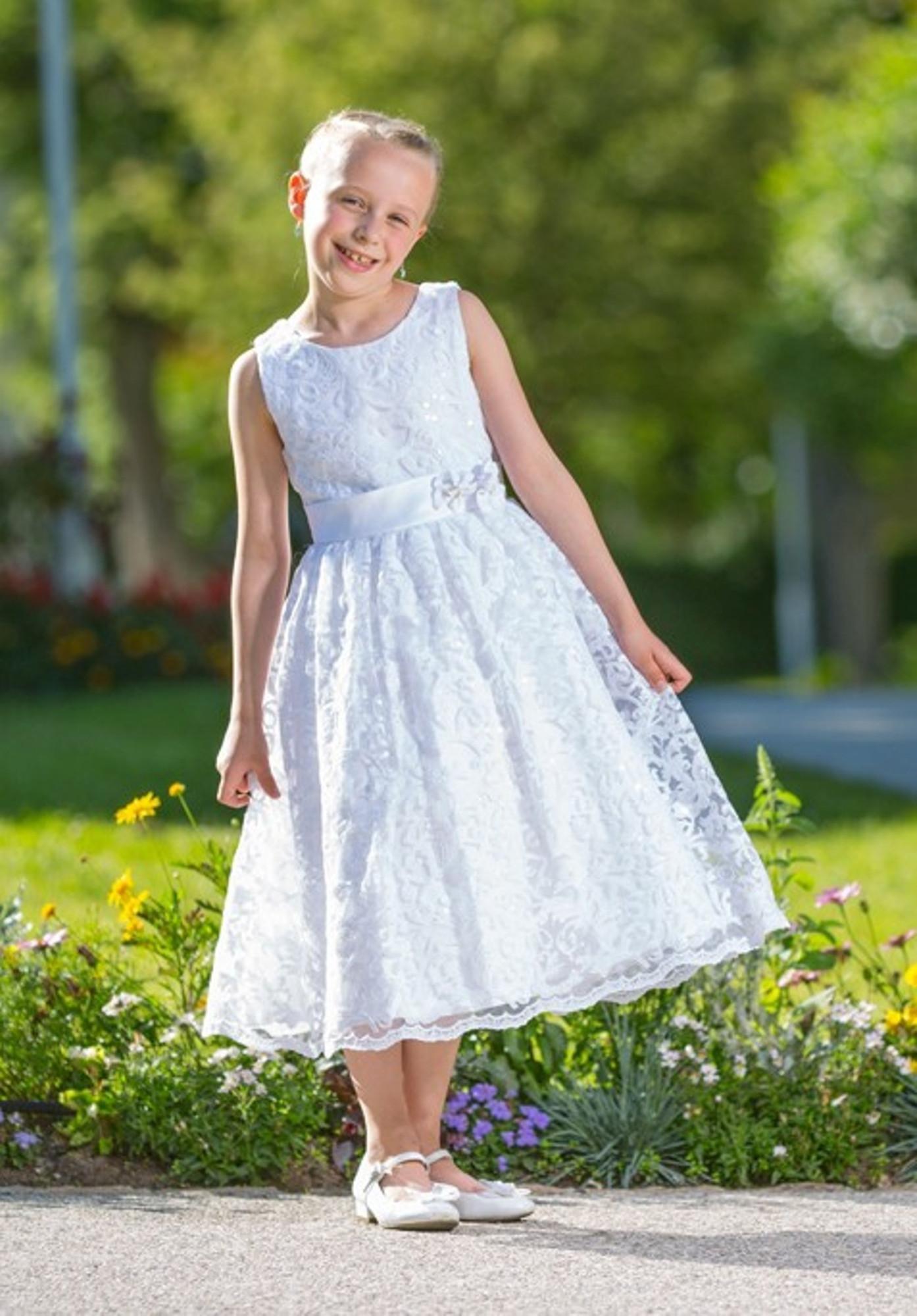 BIMARO Kleid Lavinia weiß festlich Spitzenkleid Festkleid knielang Spitze Pailletten Hochzeit  Kommunion Blumenkind