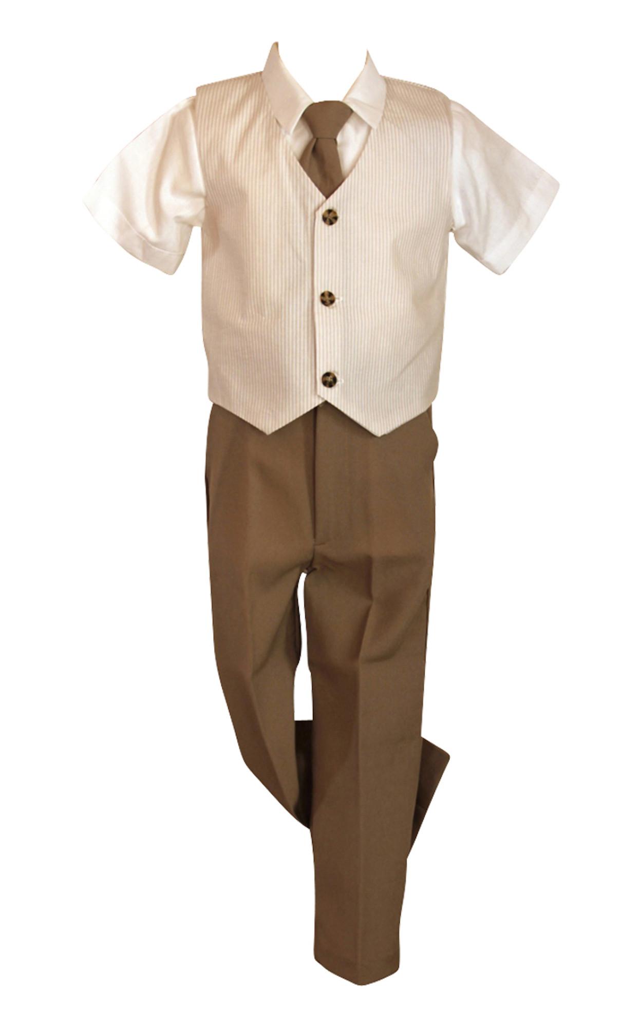 BIMARO Jungen Westenset Lucas beige Hemd kurzarm weiß gestreifte Weste Krawatte Set Hochzeit Taufe festlich