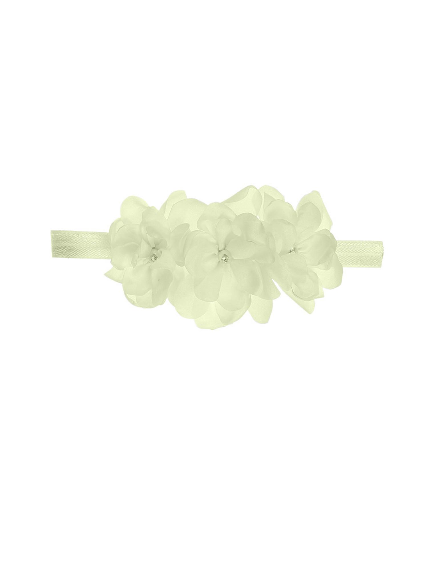 BIMARO Edles Haarband für Baby und Kleinkind creme beige mit Gummiband Blüten Glitzerperlen Taufe Hochzeit