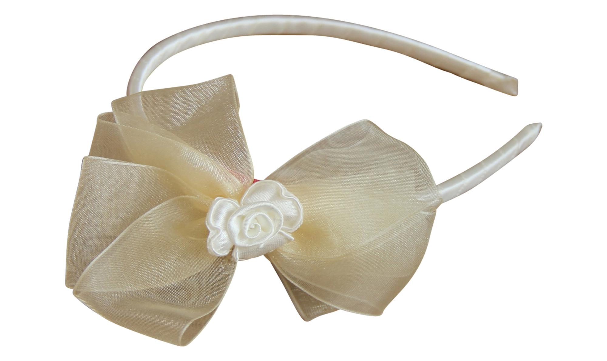 BIMARO Haarreif für Mädchen creme beige edler Satin festlich Schleife Organza Blüte Kopfschmuck Kommunion Taufe Hochzeit