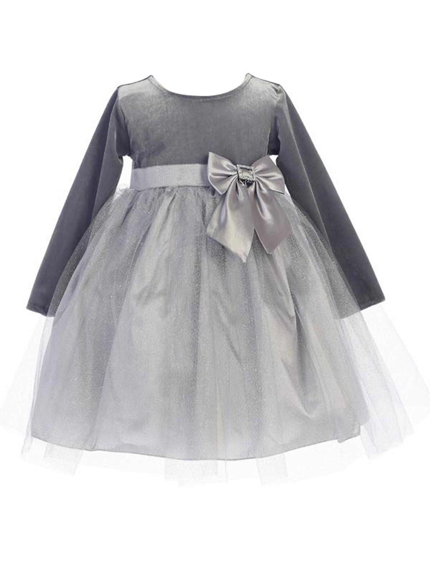 BIMARO Baby Samtkleid Emmi grau silber festlich Tüll Glitzersteine Schleife Kleid Samt Taufkleid Winter Taufe Weihnachten 001