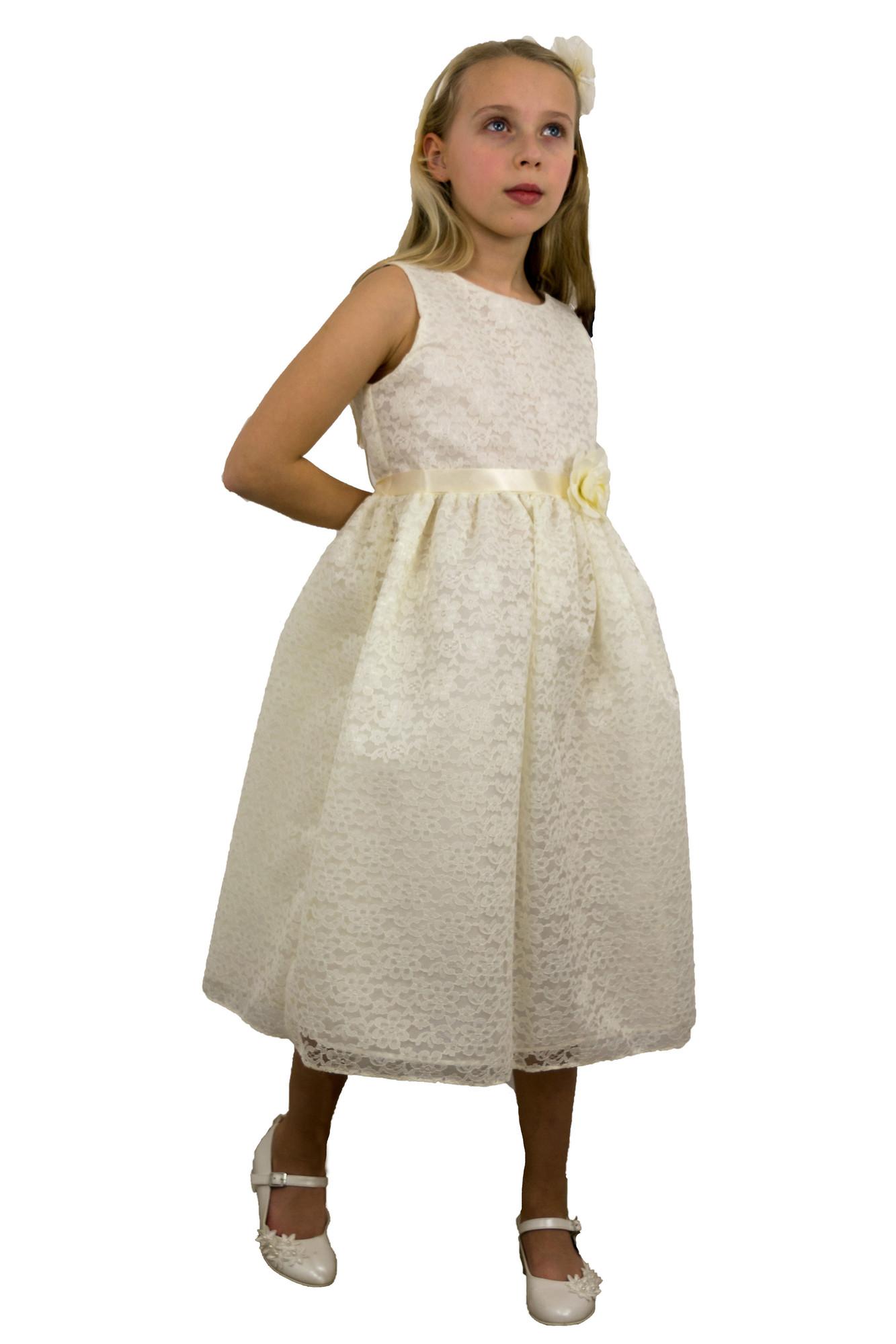 BIMARO Spitzenkleid Nelly creme beige Kommunionkleid kurz Spitze Blumenmuster Hochzeit Kommunion festlich 001