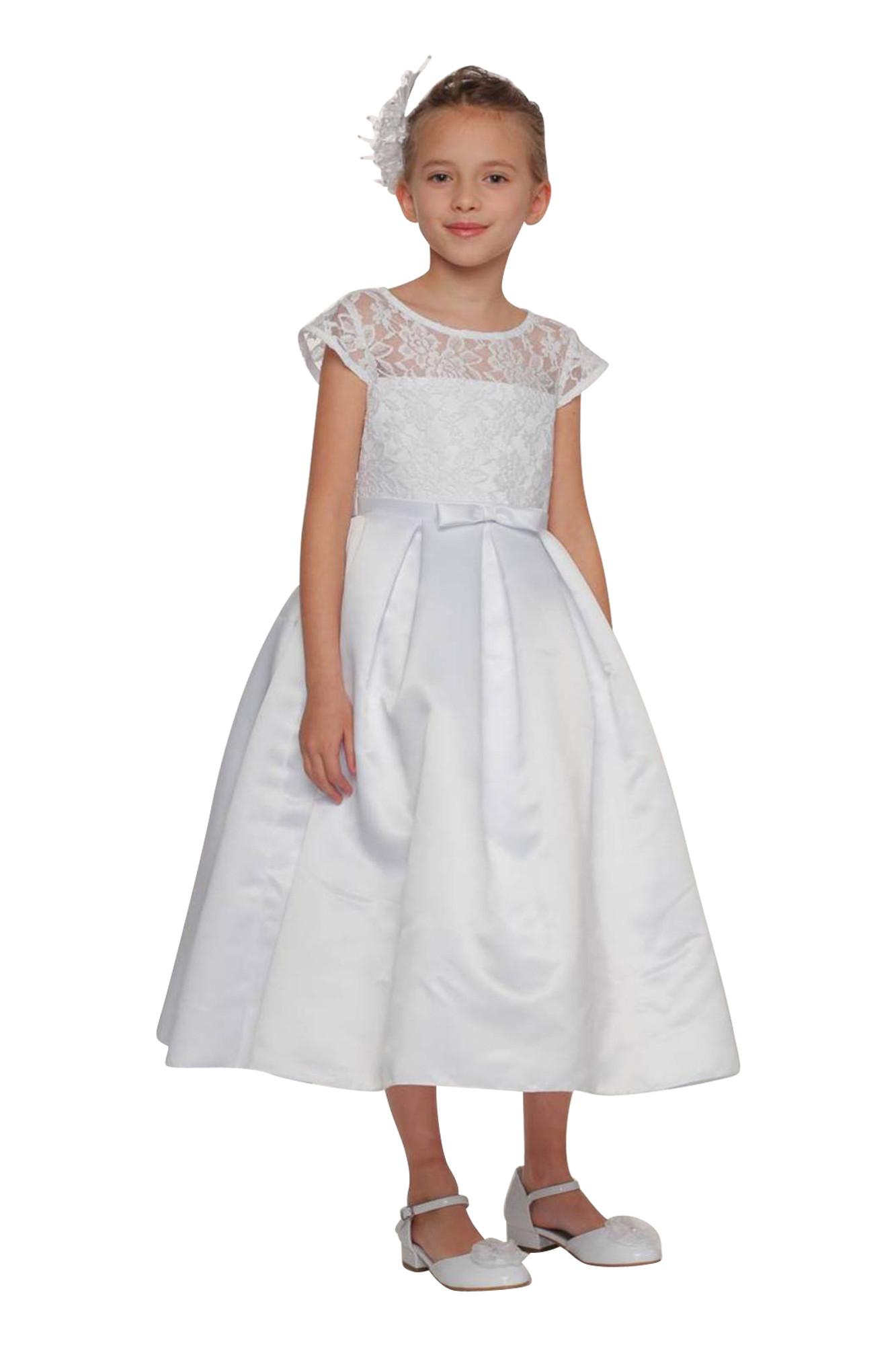 BIMARO Kommunionkleid Sally weiß Spitzenkleid Kleid Spitze Satin festlich schlicht Hochzeit Blumenmädchen Kommunion