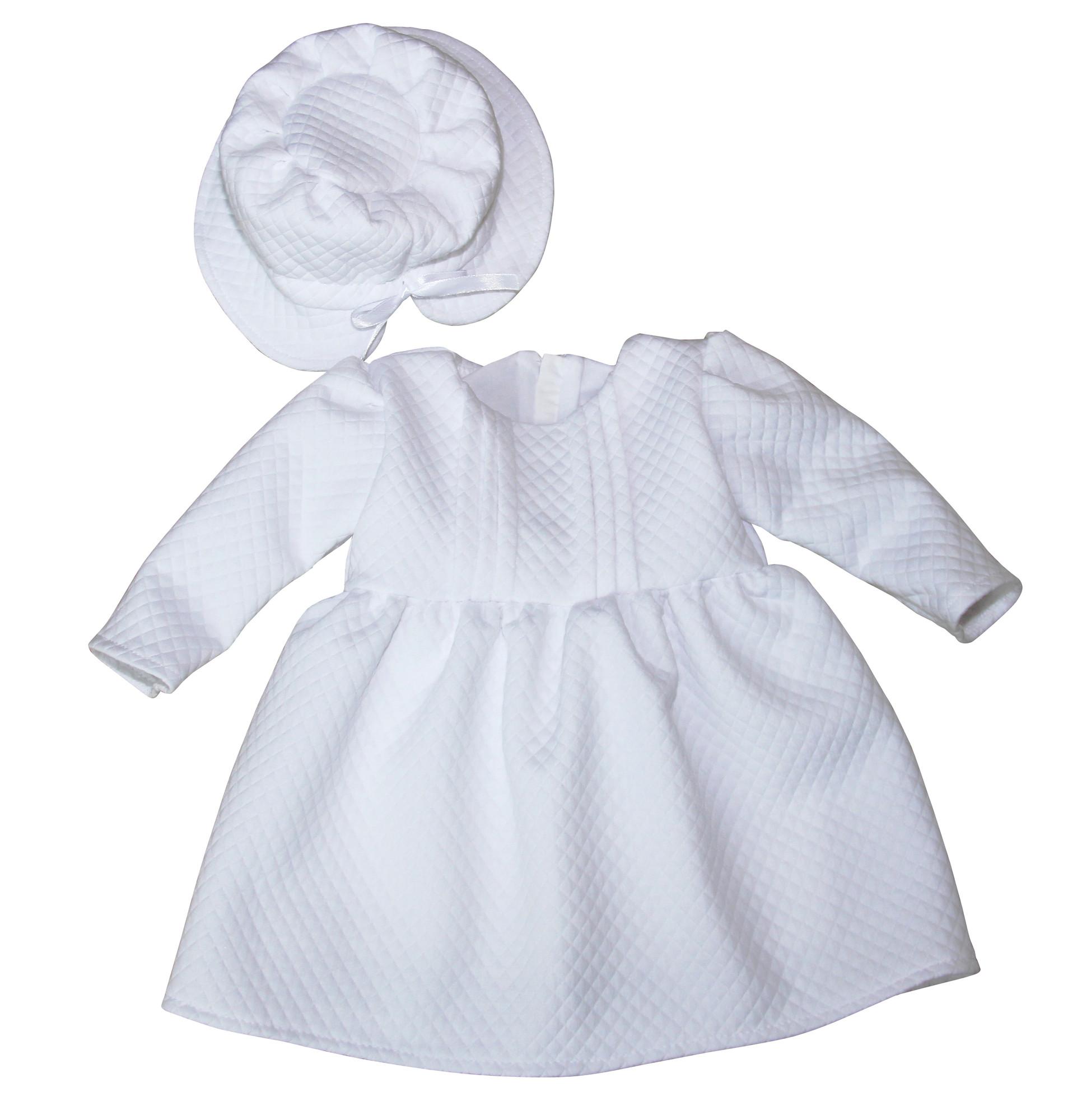 BIMARO Baby Mädchen Taufkleid Claire Babykleid weiß mit Hut Kleid festlich langarm schlicht Hochzeit Taufe