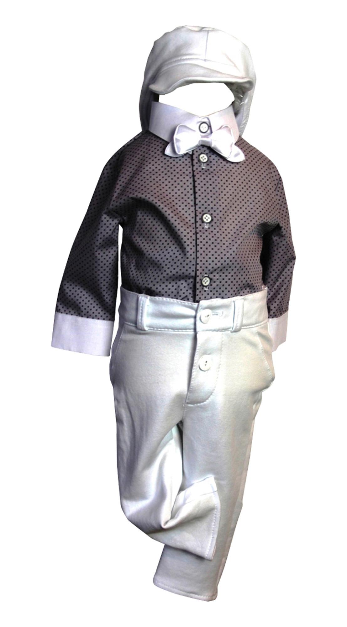 BIMARO Baby Jungen Babyanzug Luan Taufanzug grau weiß Jerseyhose Hemdbody gemustert Fliege Cap Anzug Taufe Hochzeit Anlass 001