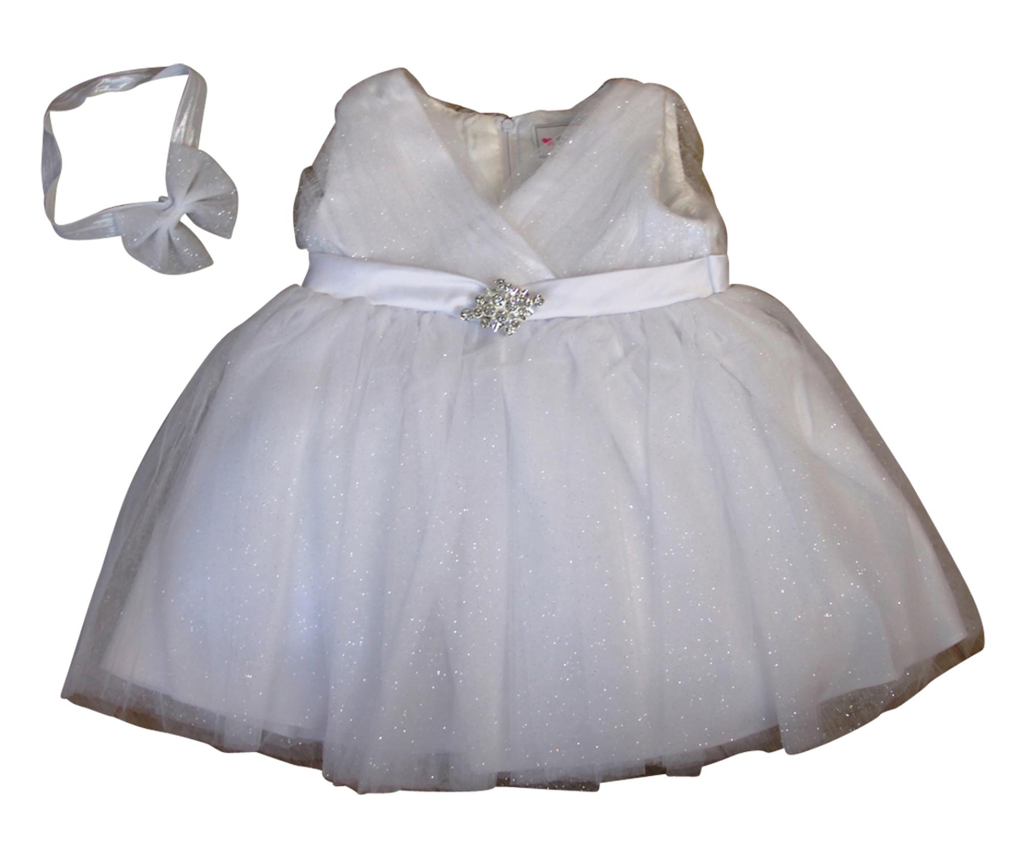 BIMARO Baby Mädchen Taufkleid Annie weiß Glitzer silber Babykleid Taufkleid Tüll Taufe Hochzeit festlich Weihnachten 001