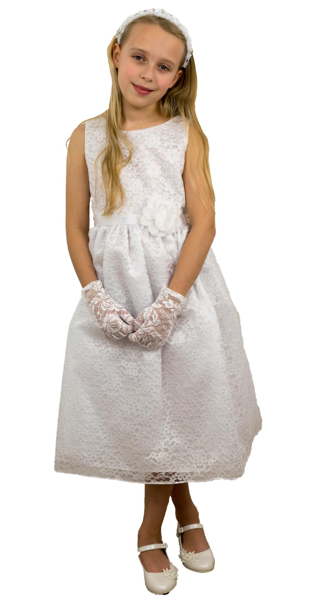 BIMARO Spitzenkleid Nelly weiß Kommunionkleid Spitze Blumenmuster Hochzeit Kommunion Taufe Kleid festlich 001