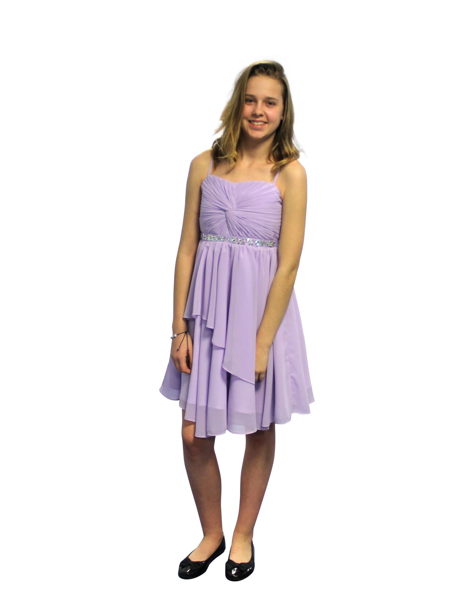 BIMARO Mädchen Kleid Clea flieder lila Festkleid edler Chiffon Strass festlich Chiffonkleid Hochzeit Blumenmädchen Party
