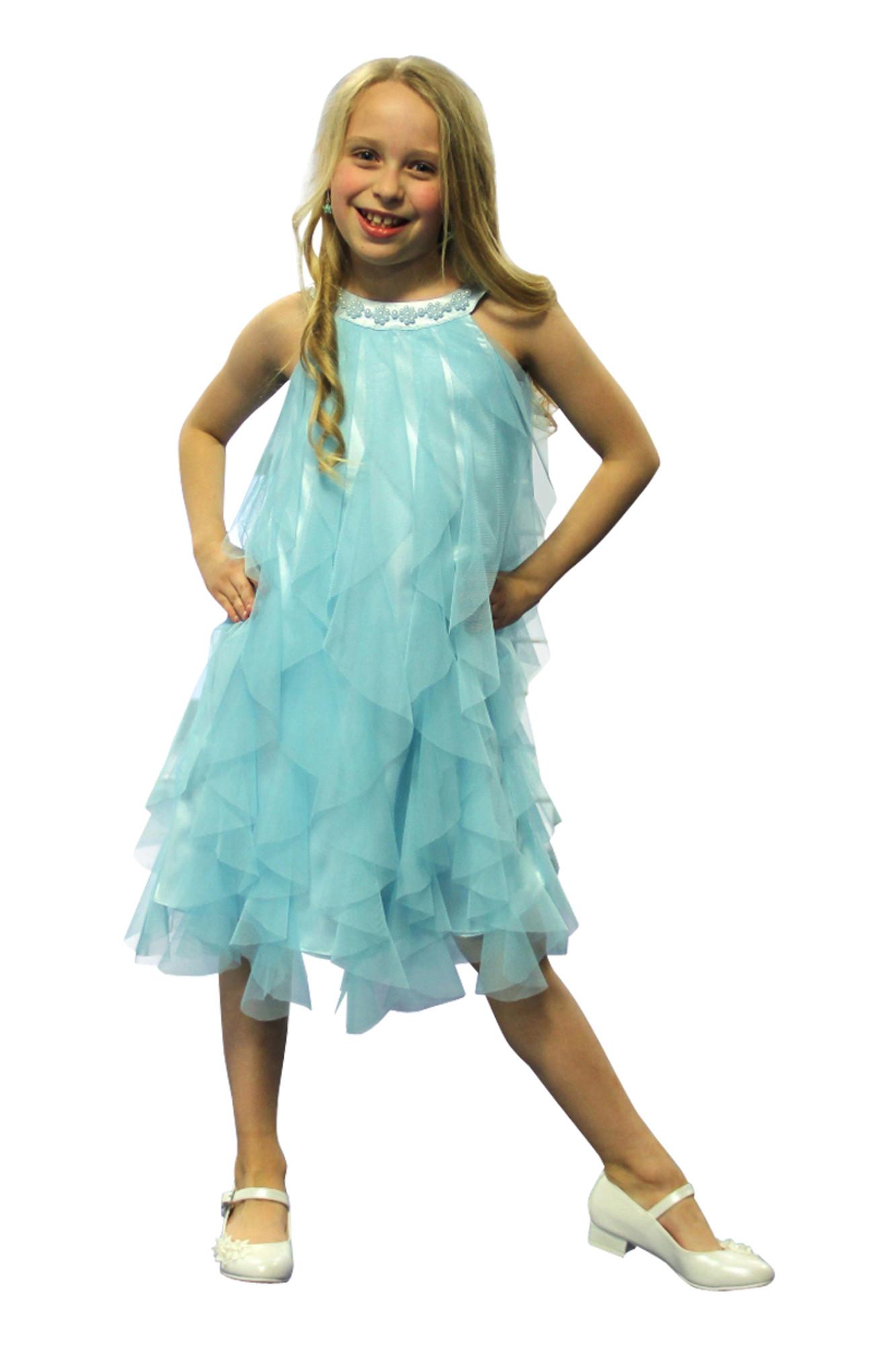 BIMARO Mädchen Kleid Lucia aqua  türkis blau Festkleid edler Mesh Volants Perlen festlich Hochzeit Taufe Blumenmädchen