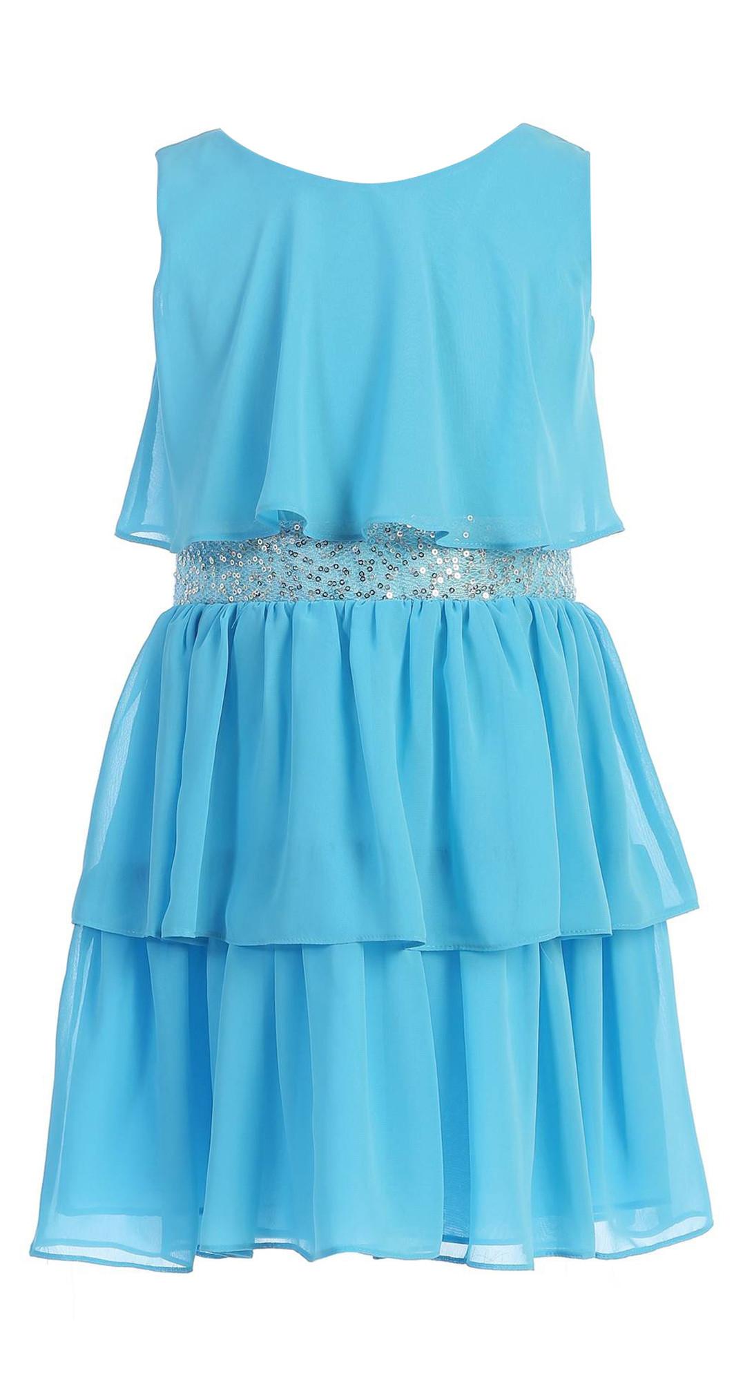 BIMARO Mädchen Kleid Viola türkis blau Festkleid Chiffon Volants Pailletten festlich Hochzeit Konfirmation Anlass
