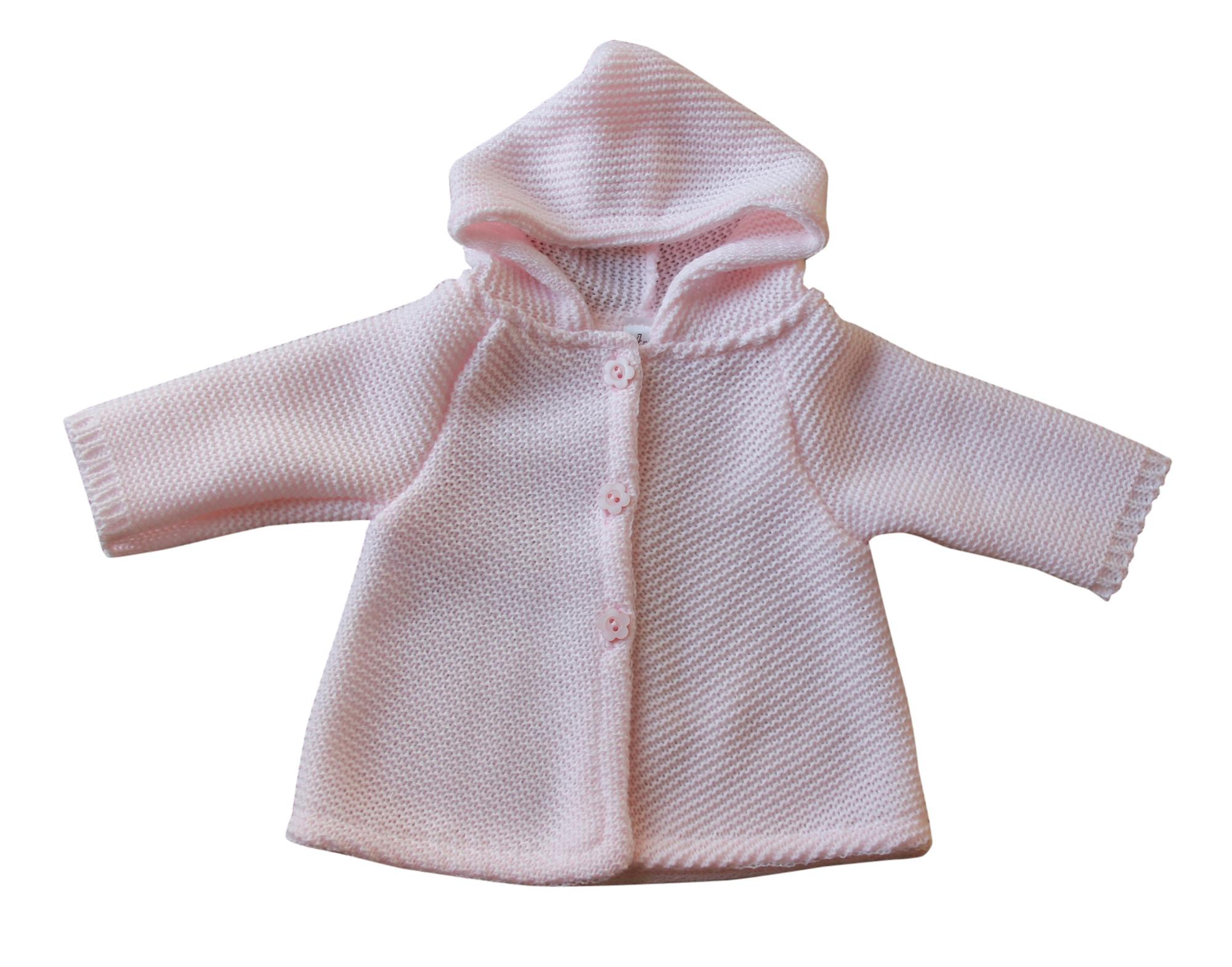 BIMARO Baby Mädchen Strickjacke mit Kapuze rosa langarm Taufjacke Bolero festlich Taufe Hochzeit Anlass 001