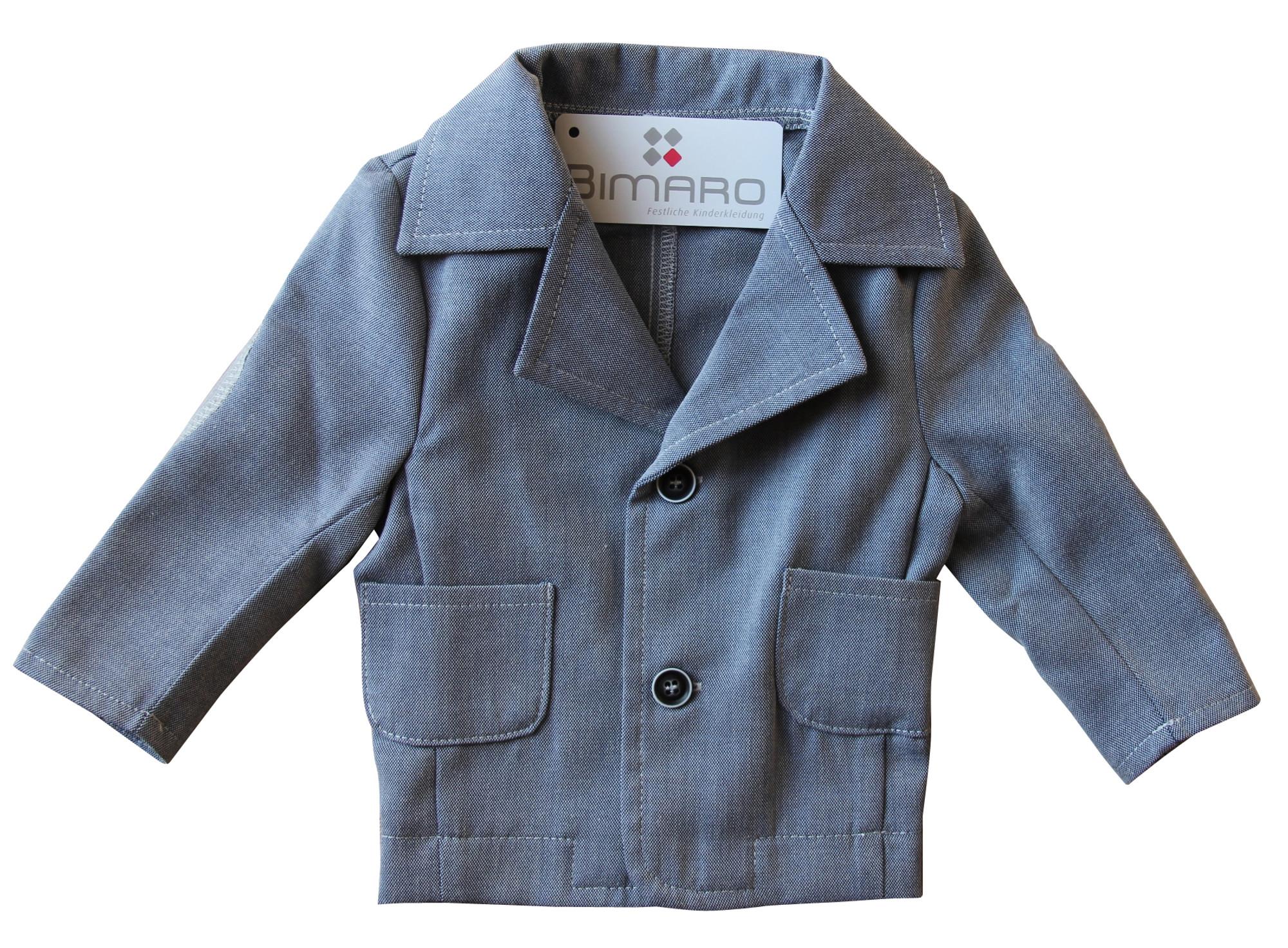 BIMARO Baby Jungen Sakko Noah grau meliert Jacke Babysakko Hochzeit Taufe festlich Anlass Jacket 001
