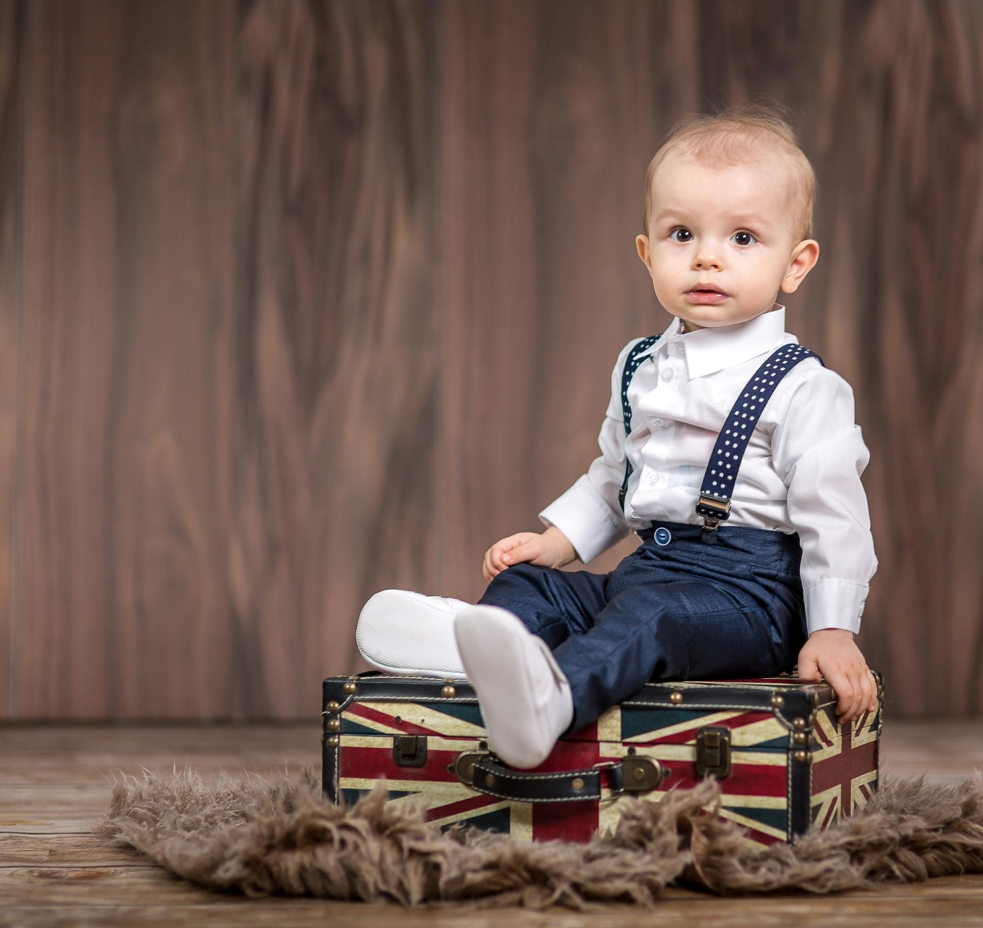BIMARO Baby Jungen Hose blau navy Babyhose mit Hosenträger lang festlich Gummibund Taufe Hochzeit Anlass