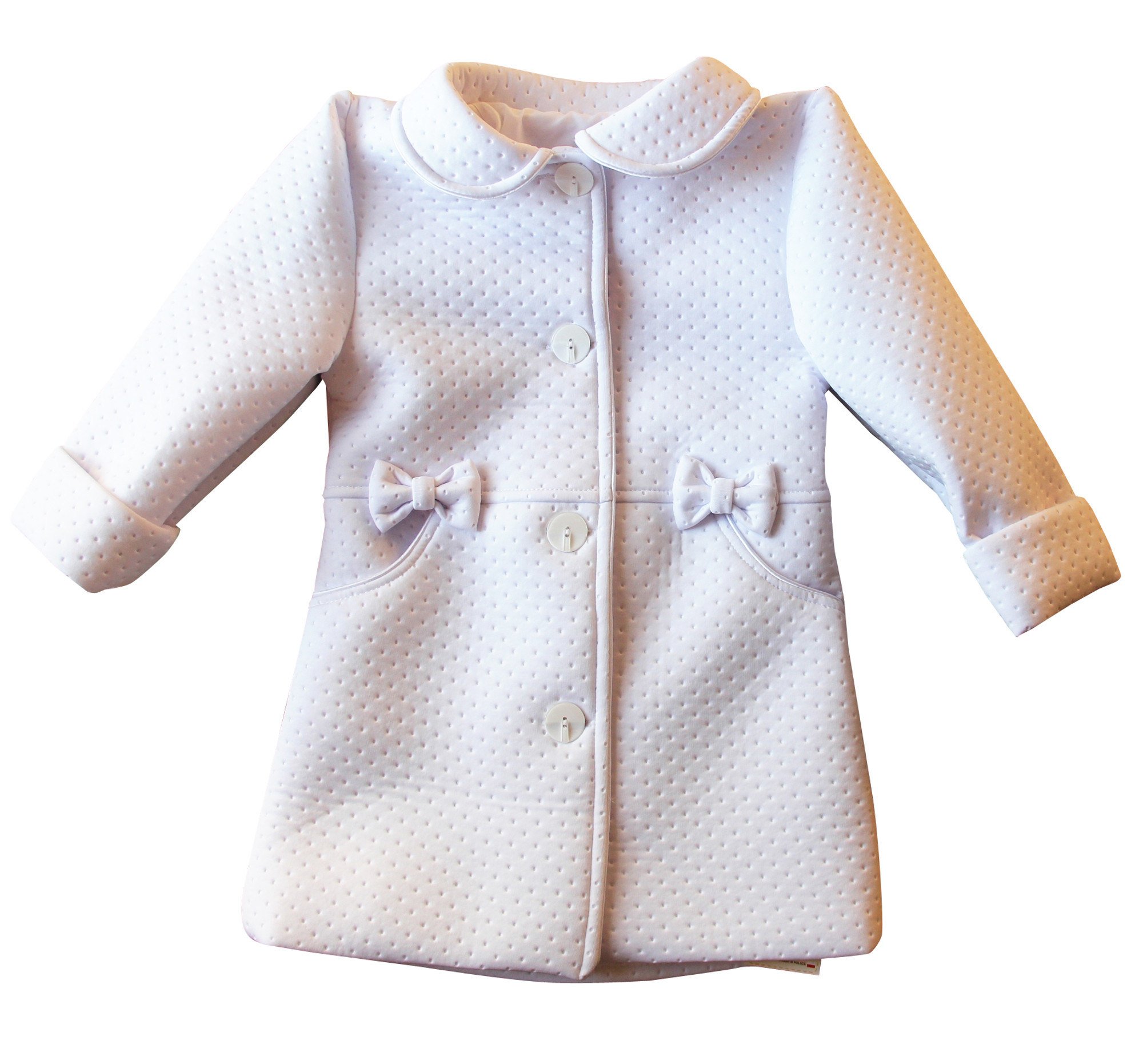 BIMARO Mädchen Mantel Lea weiß Taufmantel Babymantel Jacke Baby Hochzeit Taufe festlich gefüttert 001