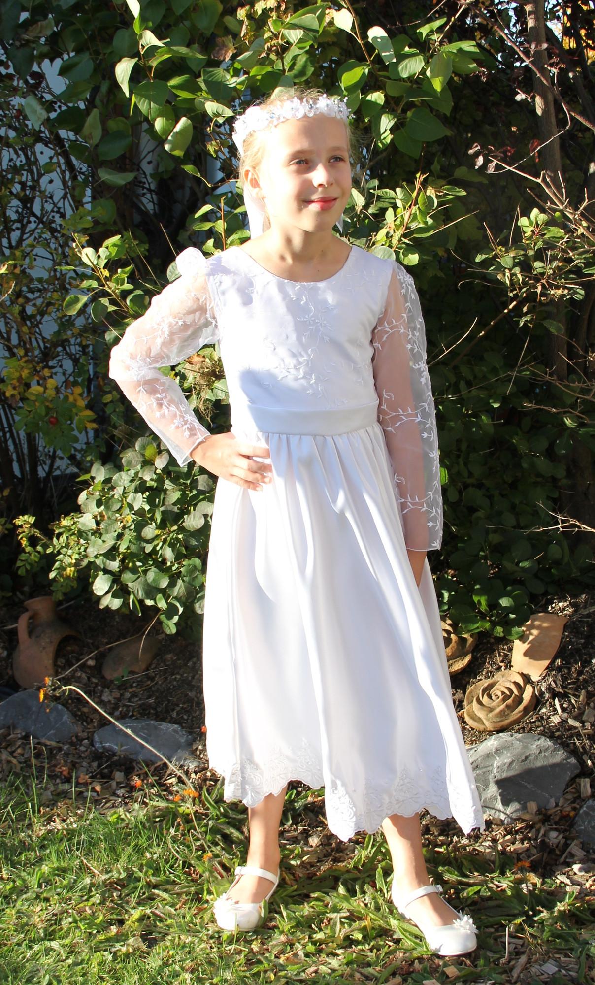 premium selection b0cbf 631ac BIMARO Kommunionkleid Lena weiß kurz langarm Kleid Stickerei ...