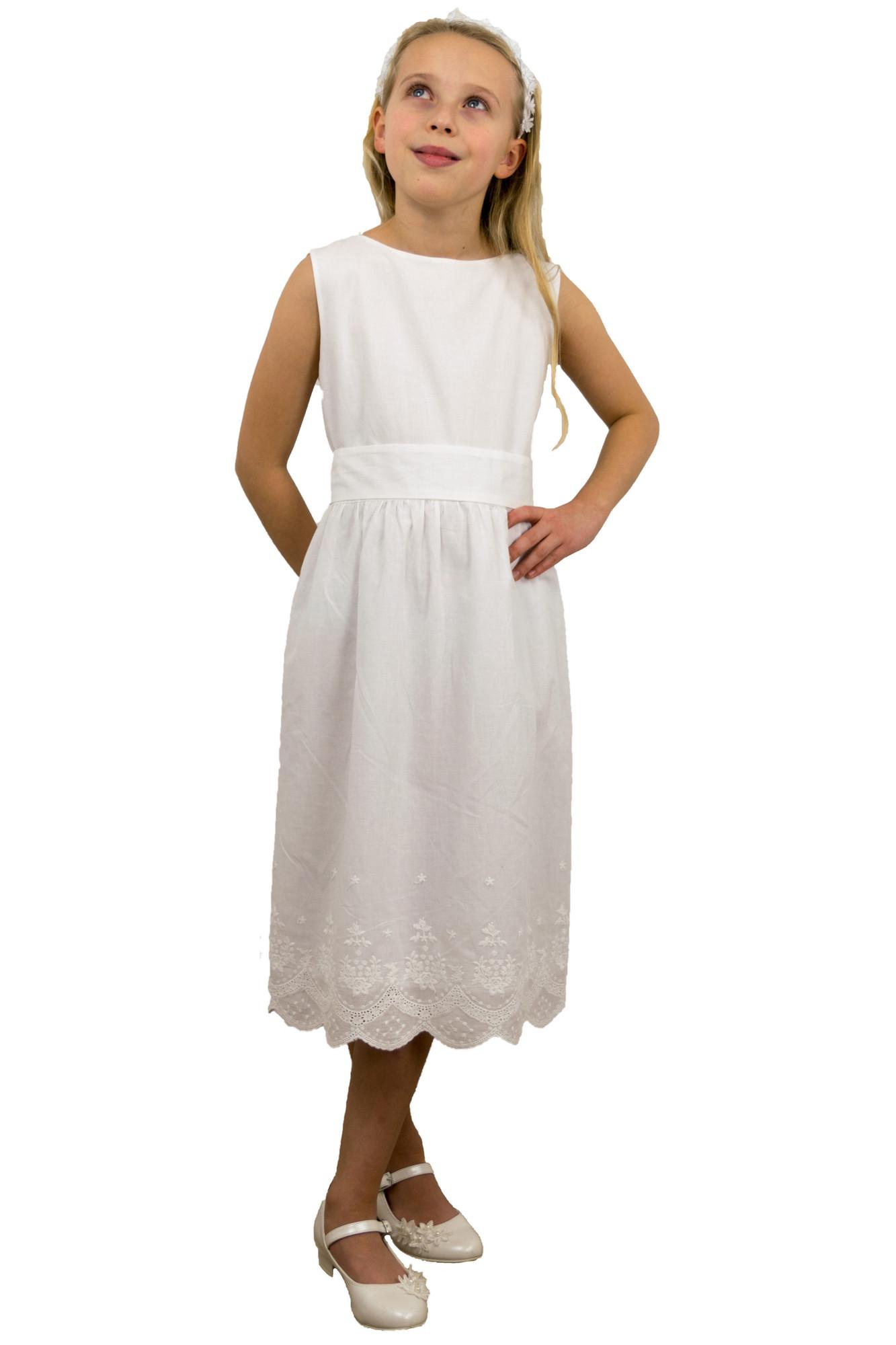 BIMARO Kommunionkleid Alisa weiß Festkleid schlicht kurz färbbar Hochzeit Kommunion festlich Baumwolle