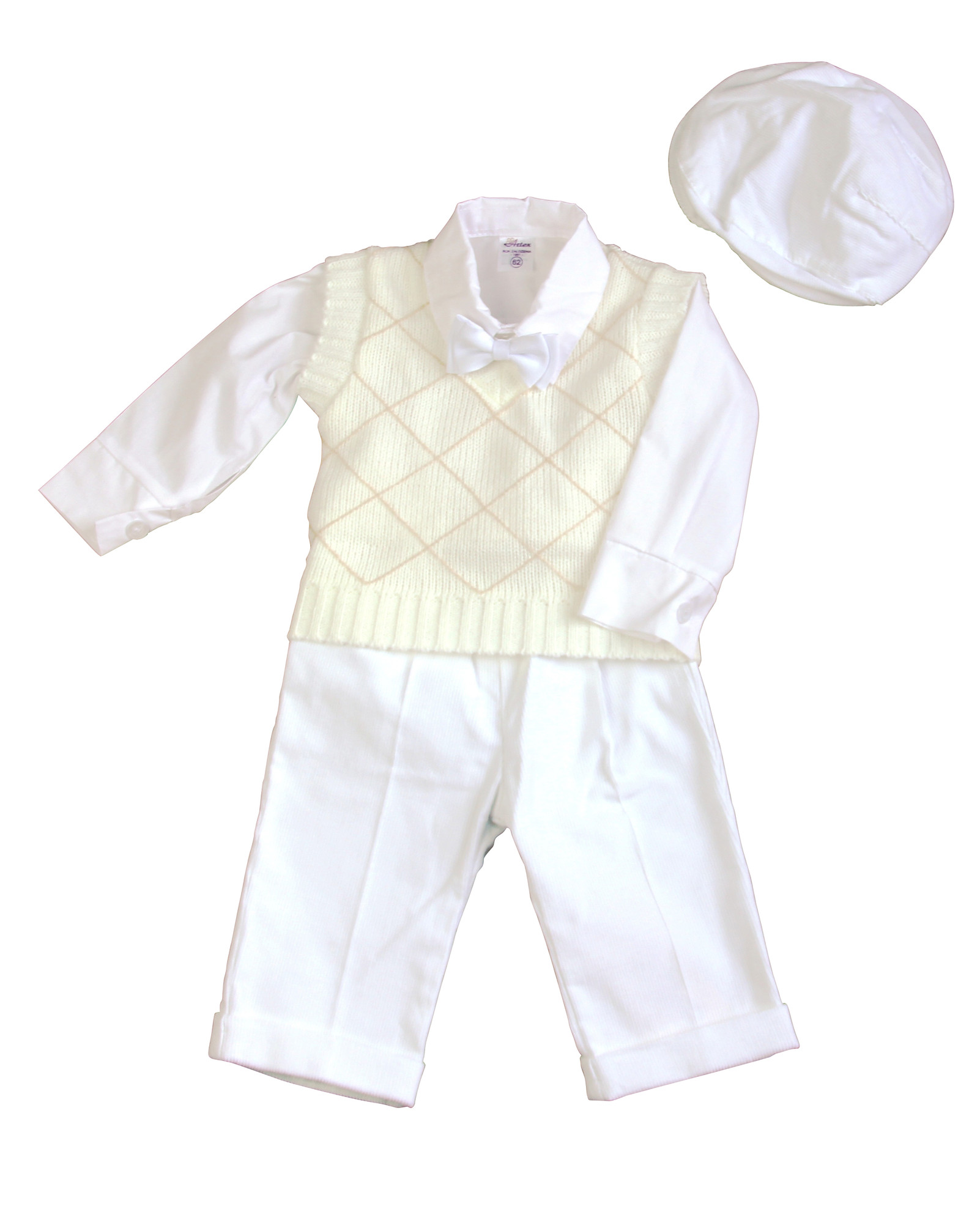 BIMARO Baby Jungen Babyanzug Marc weiß creme Taufanzug 5teilig Pullunder Hose Feincord Hemd Cap Taufe Hochzeit festlich
