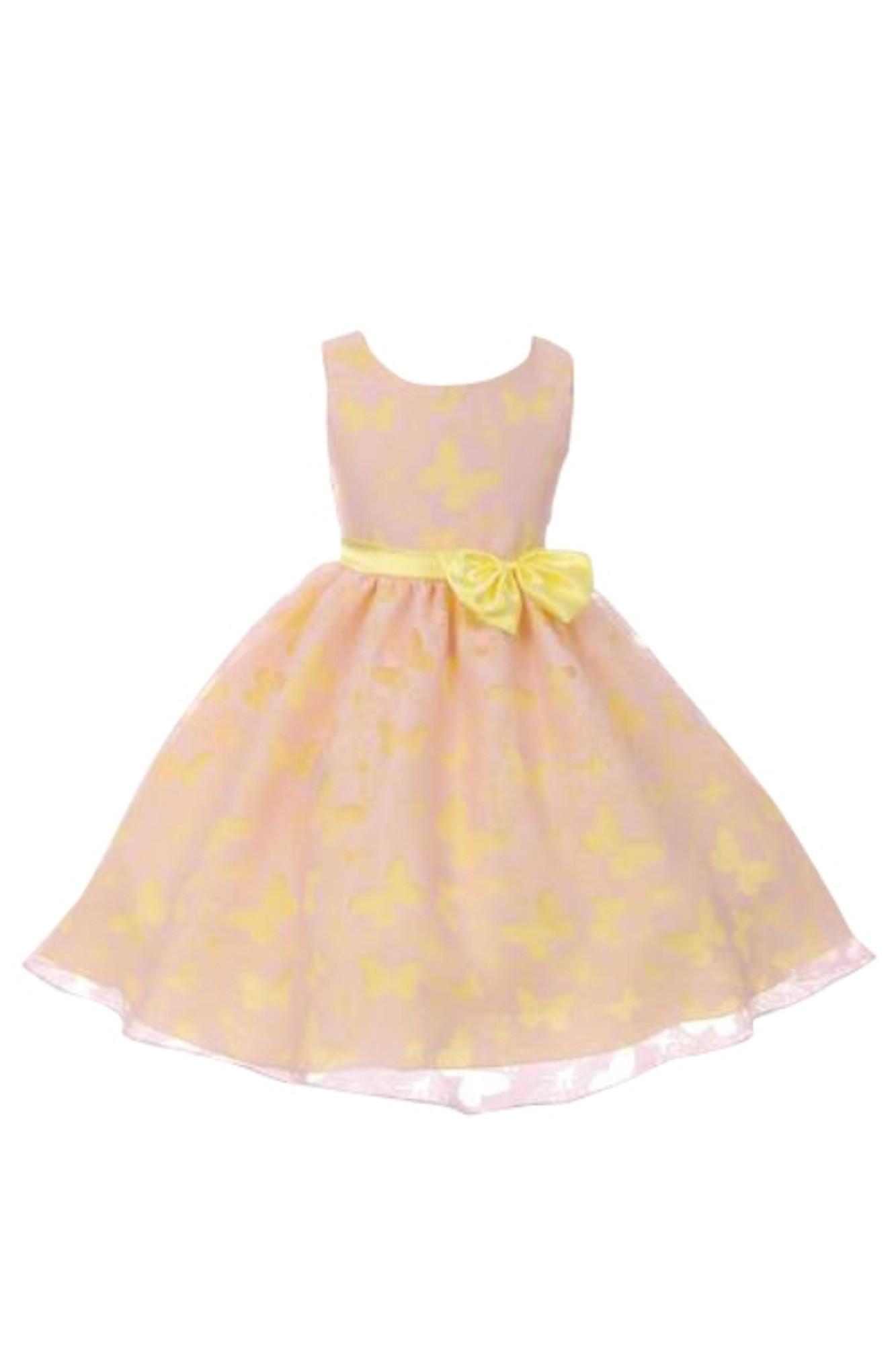 BIMARO Mädchen Kleid Romy rosa gelb festlich Schmetterlinge Festkleid Organza Satin Taufe Hochzeit Blumenmädchen  001
