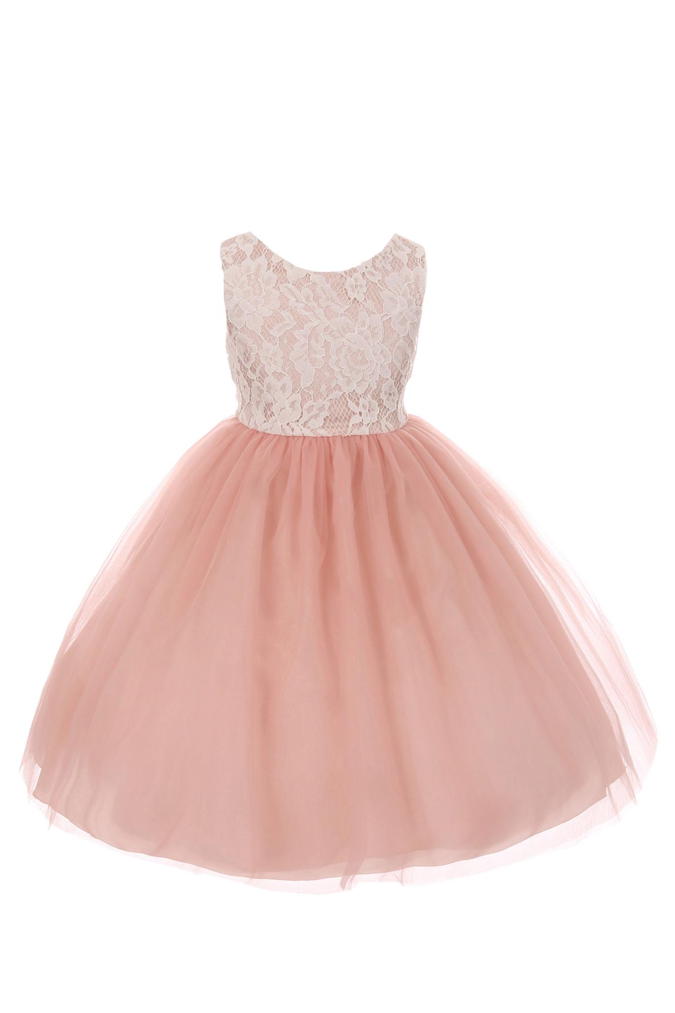 BIMARO Mädchen Kleid Lara rosa altrose Spitze beige creme festlich Tüllrock Festkleid Taufe Hochzeit Blumenmädchen