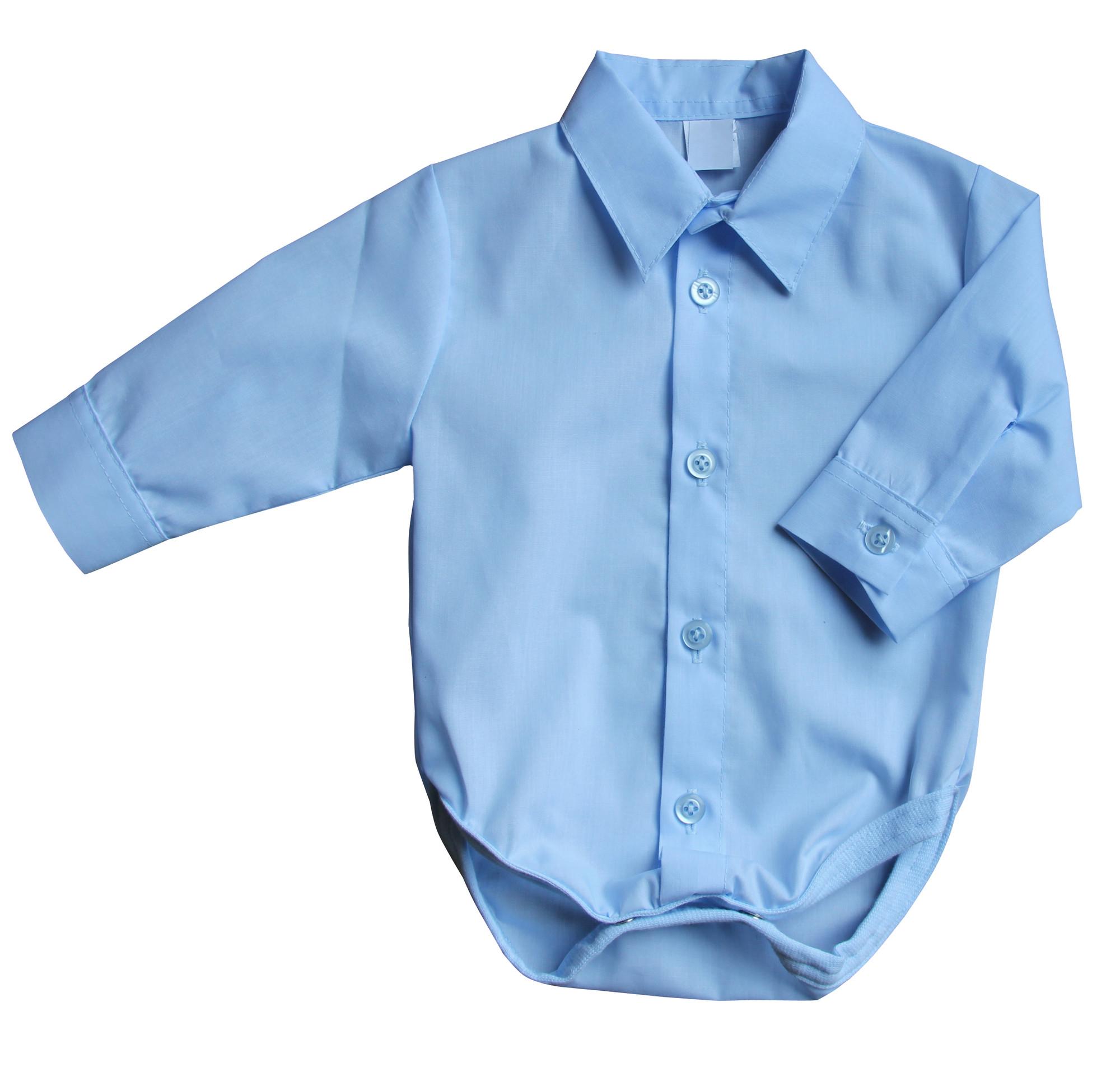 BIMARO Baby Hemd Body blau hellblau Jungen Taufbody Babybody langarm Kragen festlich Hochzeit Taufe Anlass 001