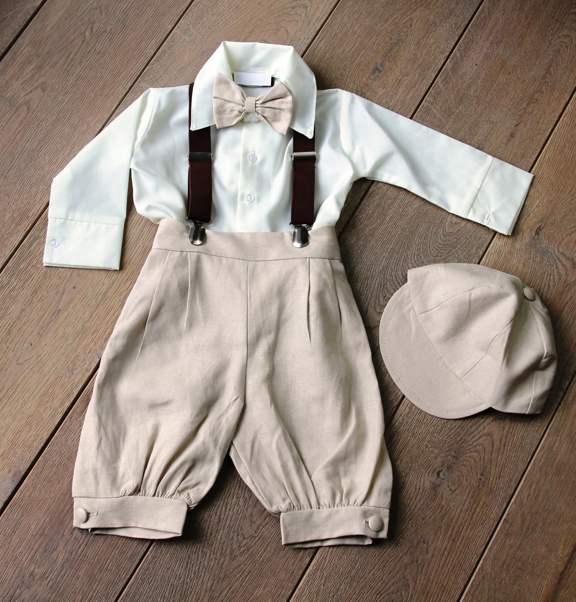 BIMARO Baby Jungen Babyanzug Joel Taufanzug creme beige sand Hemd creme Fliege Cap Hosenträger Anzug Taufe Hochzeit