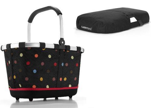 reisenthel SET carrybag 2 Einkaufskorb Korb dots BL7009S + Cover schwarz BP7003 - EXKLUSIVES ANGEBOT ! – Bild 1