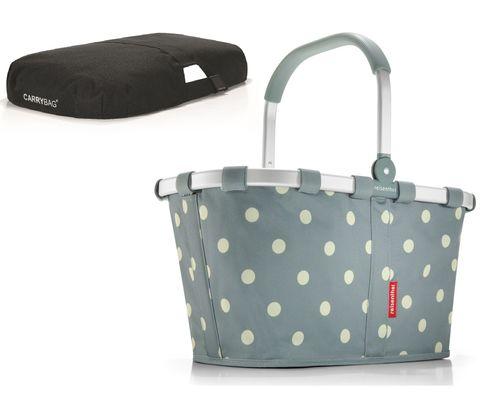 reisenthel SET carrybag Einkaufskorb Korb grey dots BK1009 + Cover schwarz BP7003 – Bild 1