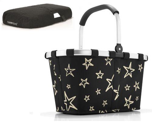 reisenthel SET carrybag Einkaufskorb Korb stars BK7046 + Cover schwarz BP7003 – Bild 1