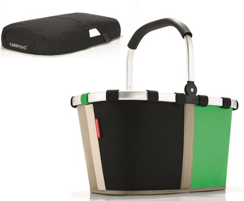 reisenthel SET carrybag Einkaufskorb Korb patchwork grün BK5032 + Cover schwarz BP7003 – Bild 1
